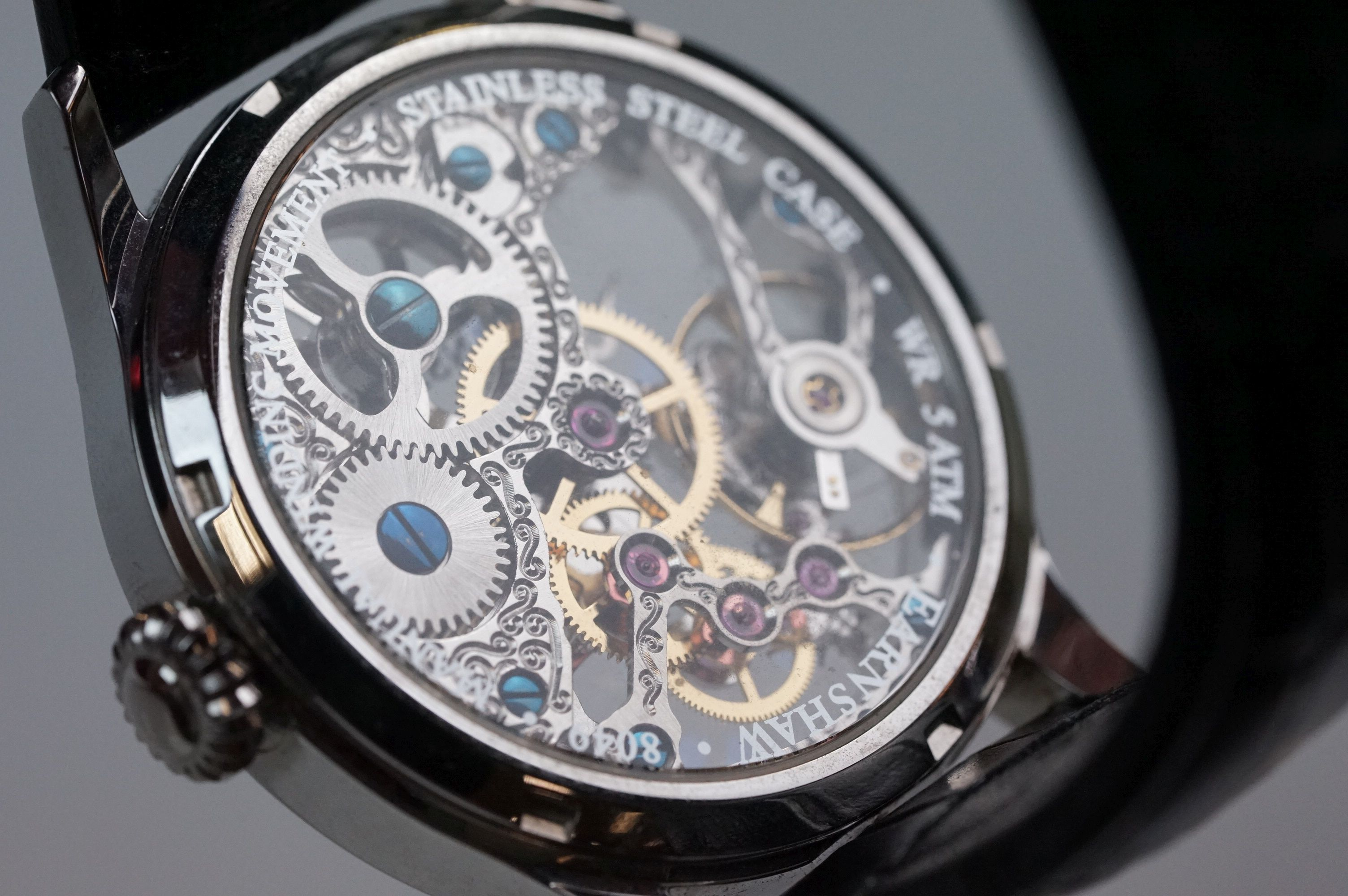 Earnshaw Gents wristwatch, skeleton face and dial, WR 5 ATM 8049, together with paperwork, box and - Image 7 of 9
