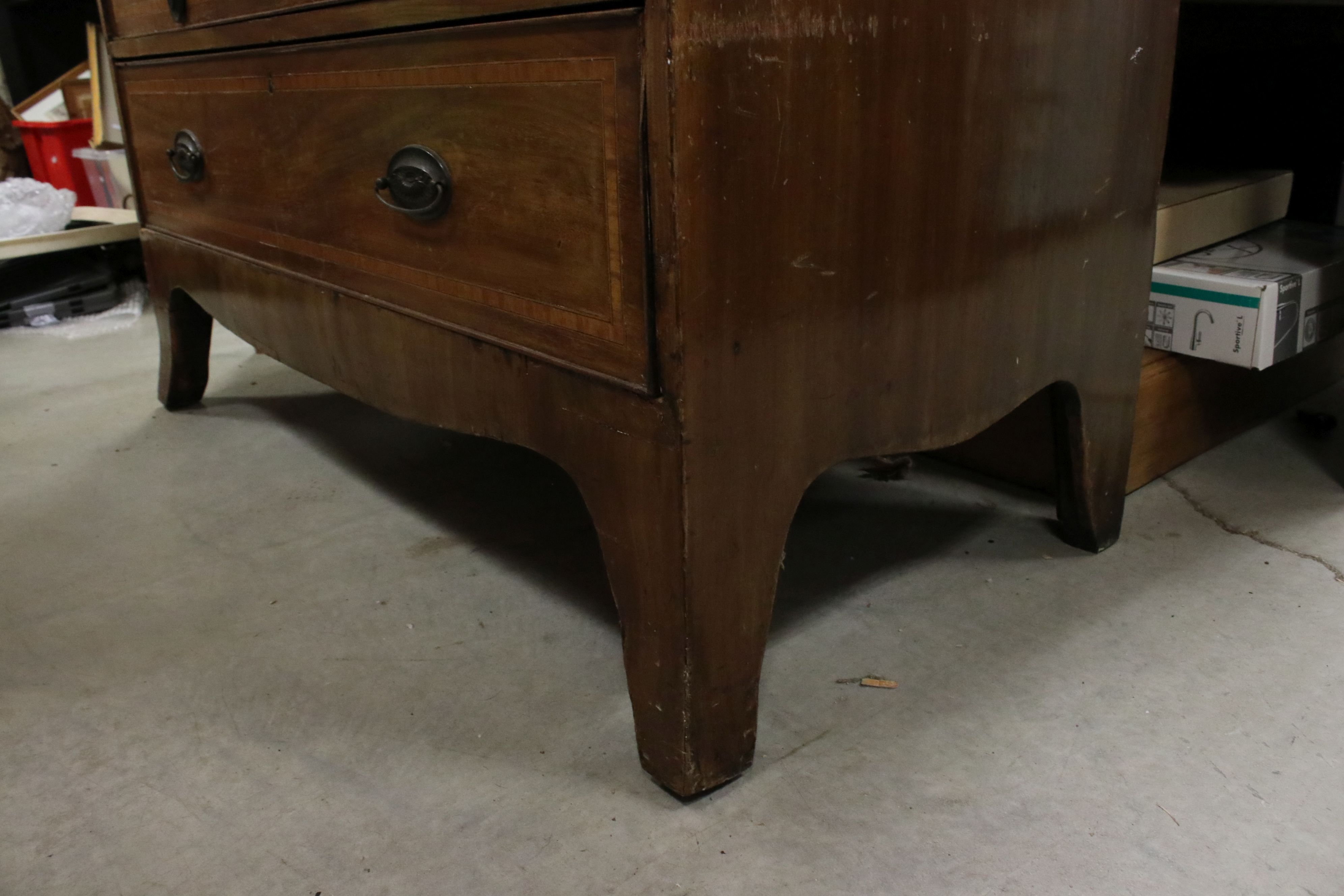 Early 19th century Mahogany Inlaid Chest of Two Short over Three Long Drawers, raised on swept - Image 5 of 5
