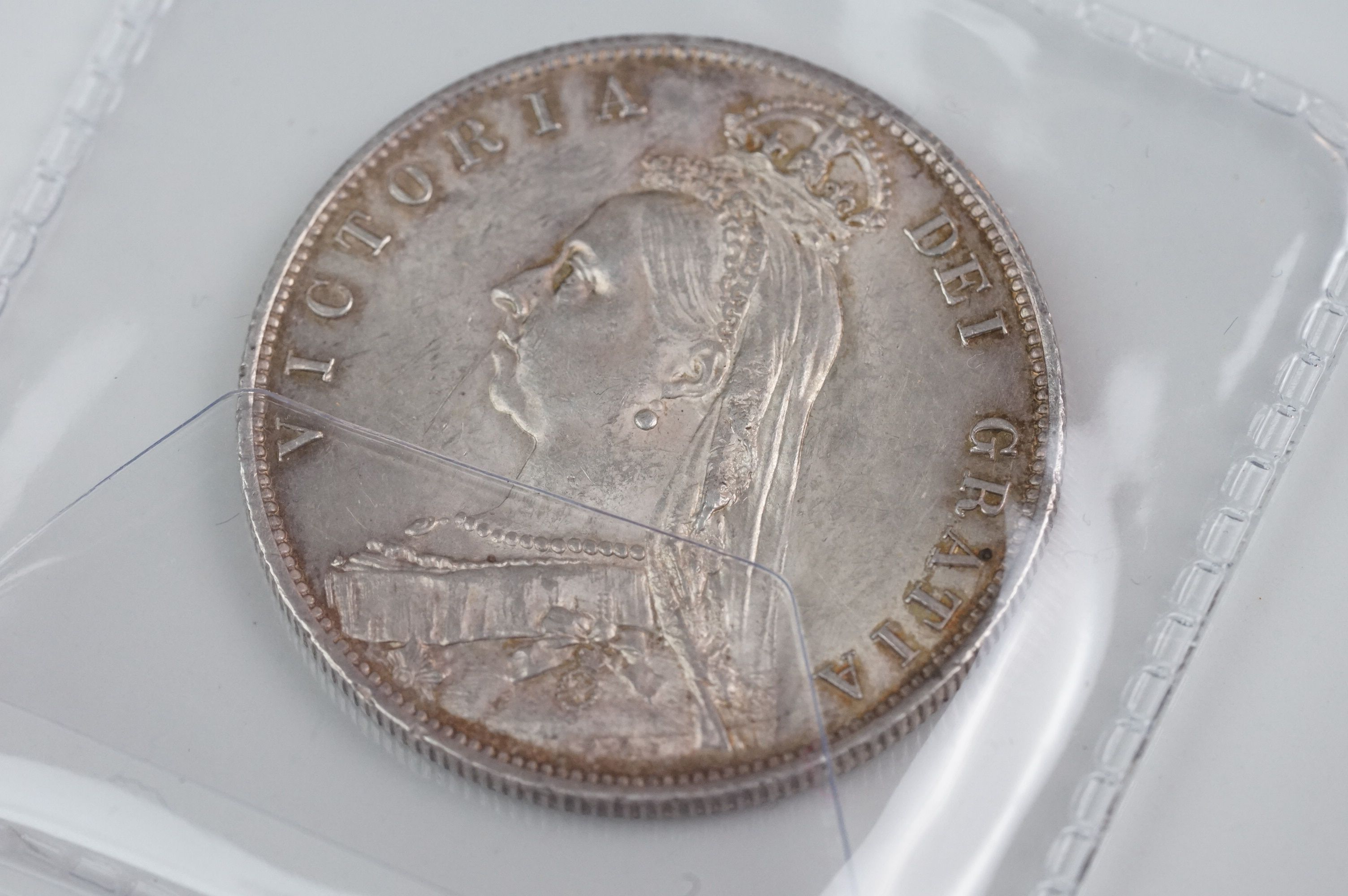 A collection of five Victorian silver coins to include two double florins, two florins and a - Image 3 of 11