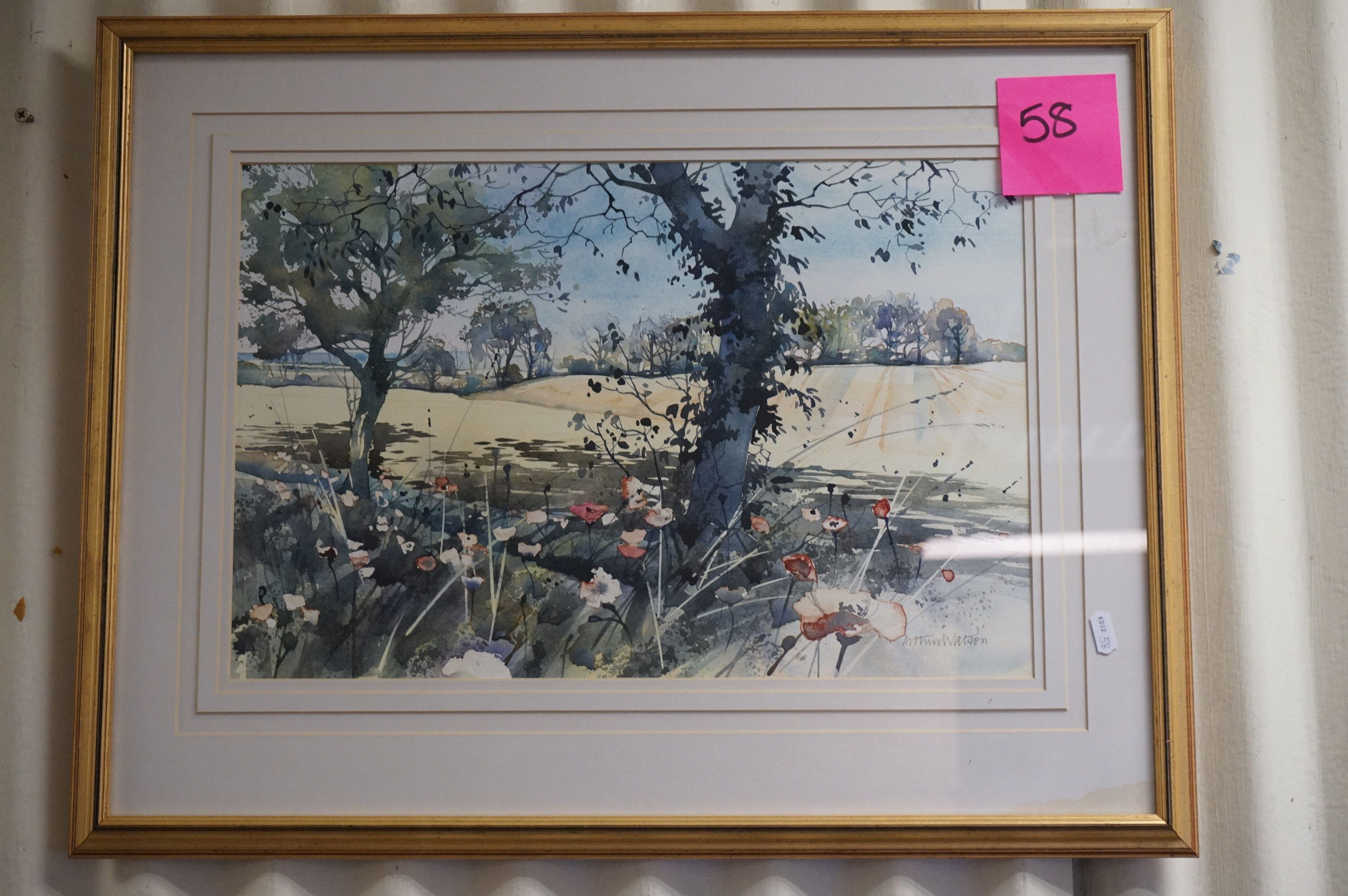 Arthur Watson (20th century), Watercolour of Country Scene with Poppies (33cms x 49cms) framed and