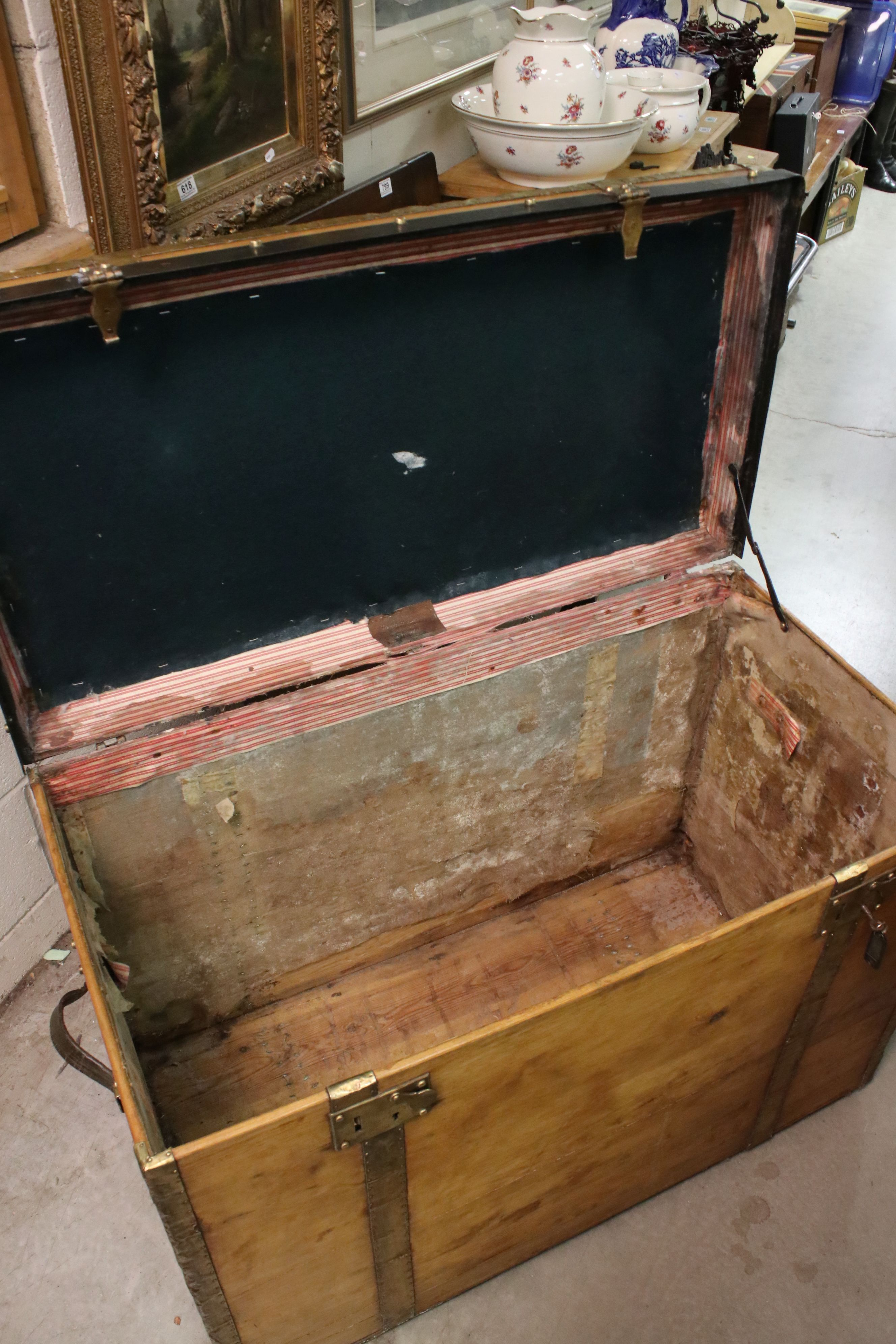 Large vintage pine trunk with brass strapping and locks by Joachim Larsen, Arendal, with leather - Image 4 of 5