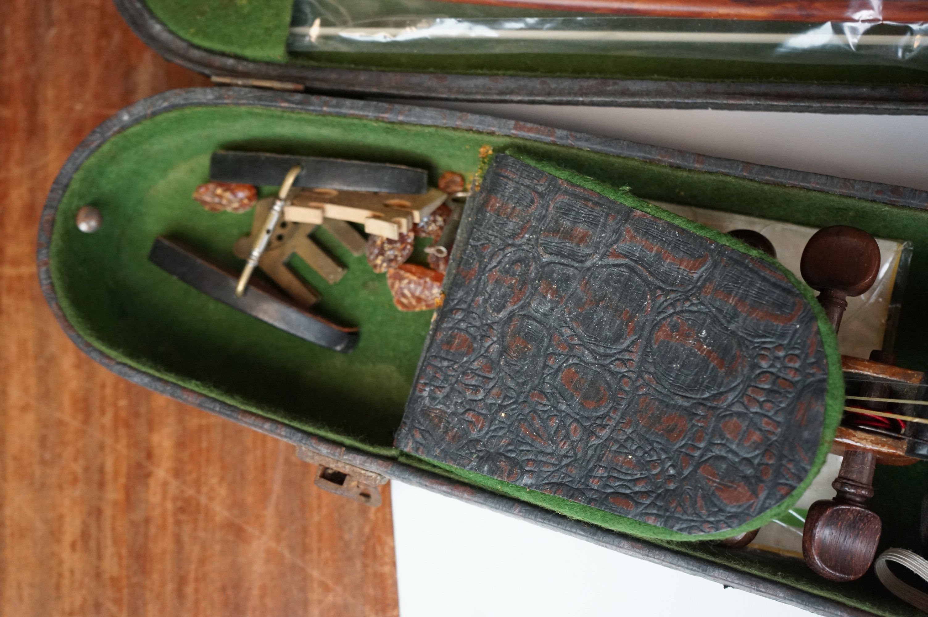 Violin with Two Bows in a Vintage Snakeskin effect case - Image 6 of 7