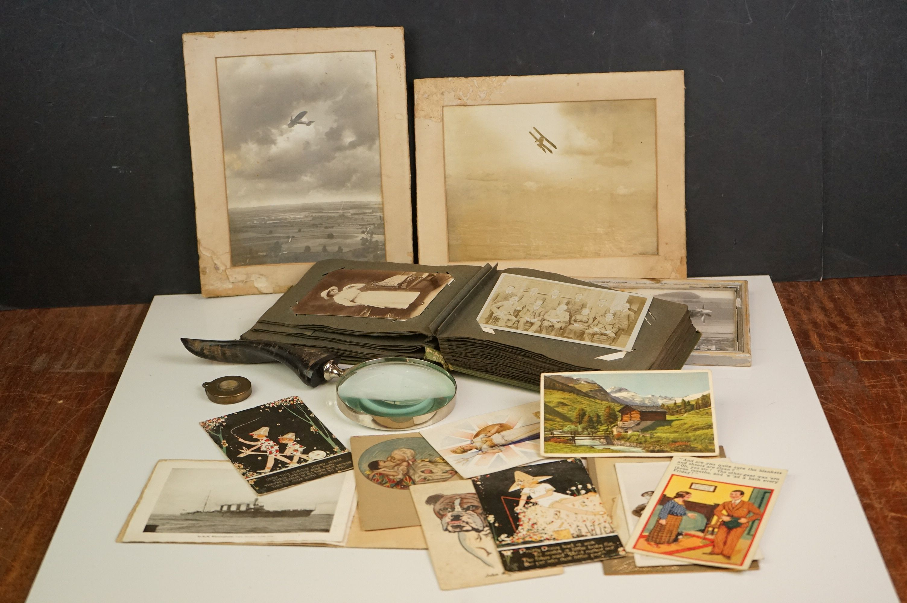 Album containing WW1 photographic postcards of the Royal Medical Corps, many with correspondence &