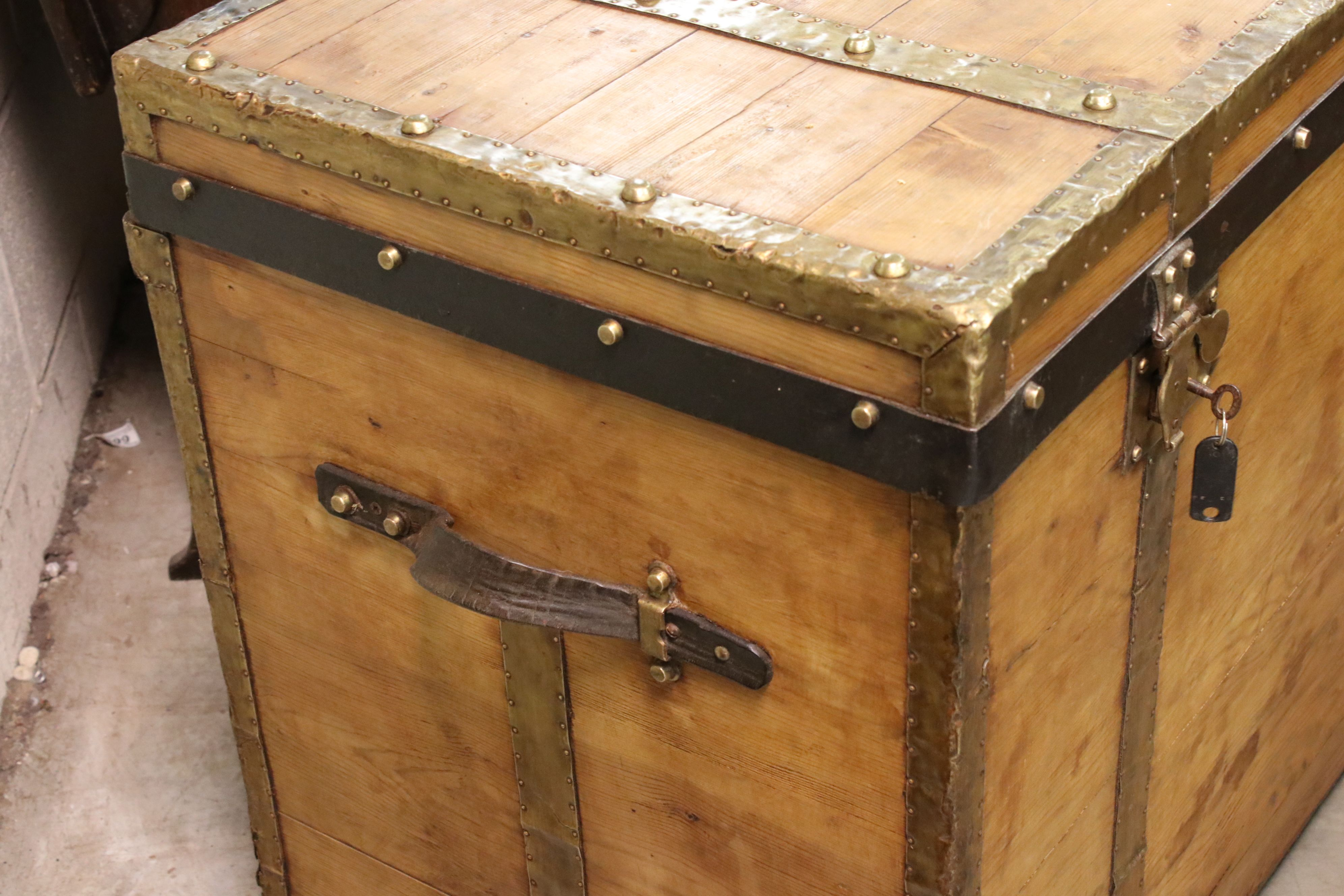 Large vintage pine trunk with brass strapping and locks by Joachim Larsen, Arendal, with leather - Image 2 of 5