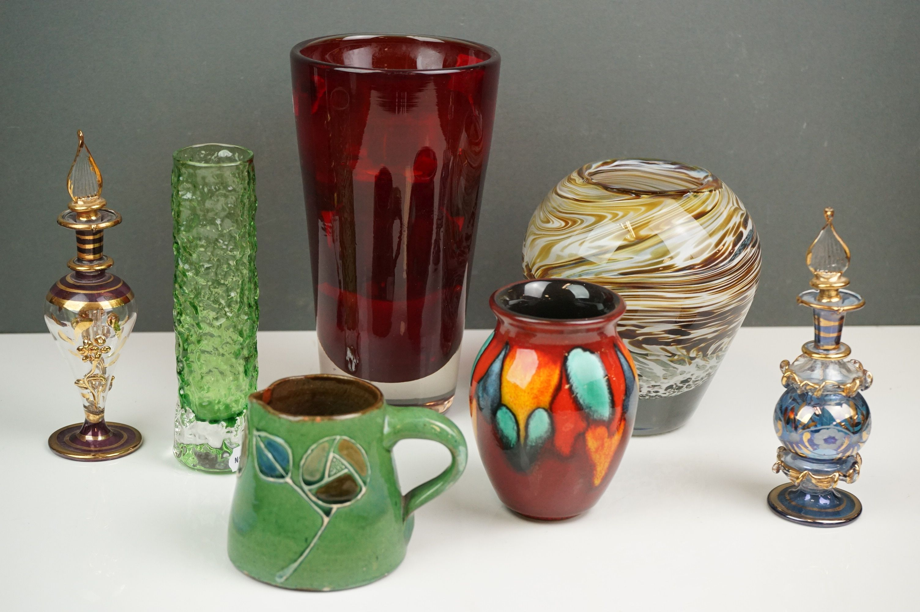 Mixed Lot of Ceramics and Glass including small Brannam Pottery Jug dated 1904, 7cms high,