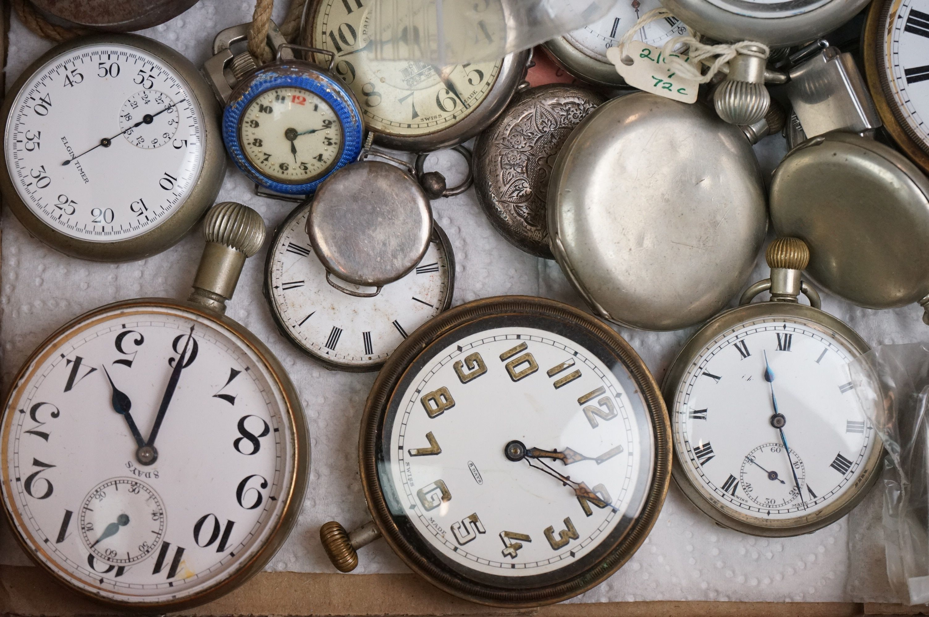 Large collection of white metal, chrome plated and stainless steel pocket watches to include Tissot, - Image 5 of 5