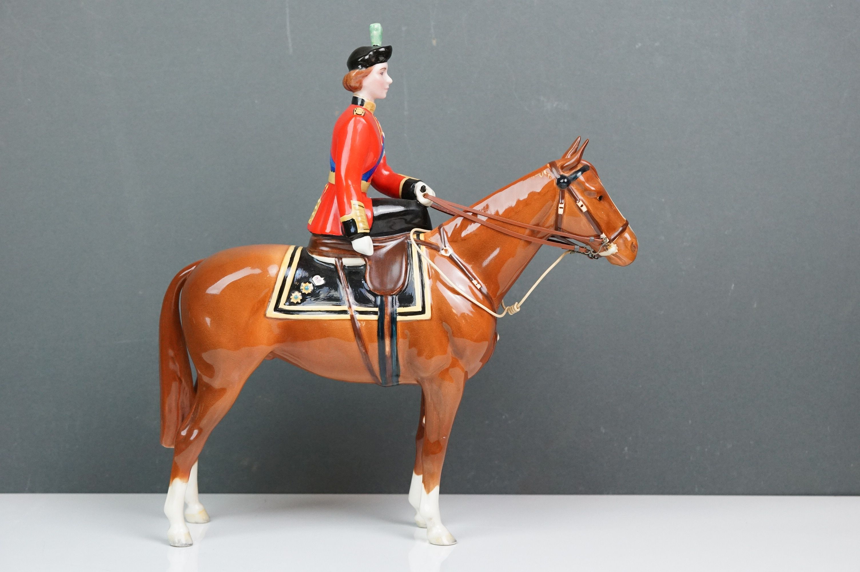 Beswick HM Queen Elizabeth II mounted on Imperial, Trooping the Colour 1957, model no. 1546 H26.5cm - Image 3 of 8