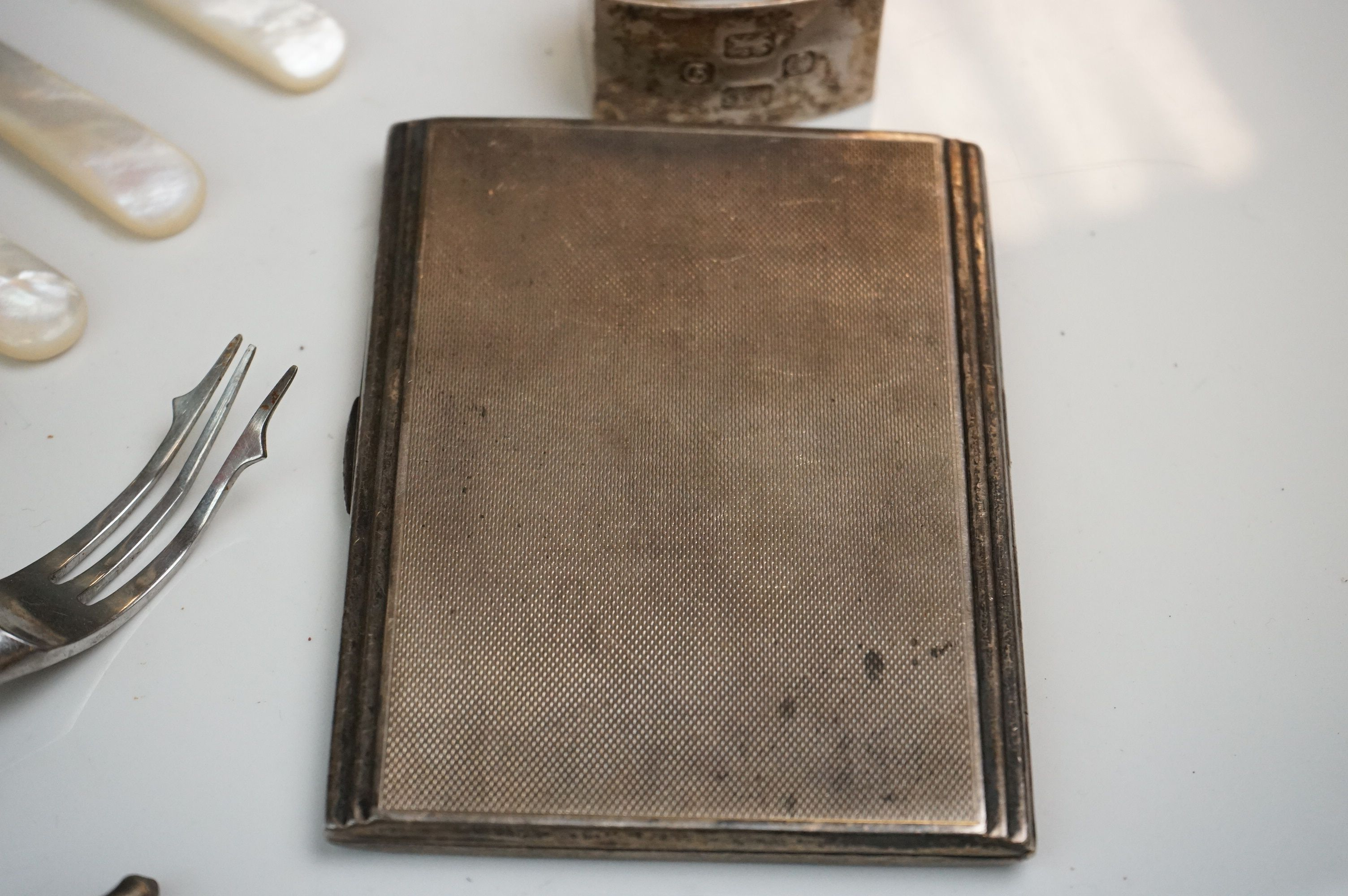 Collection of silver to include Silver cigarette case, engine turned body, gilt interior, makers - Image 8 of 8