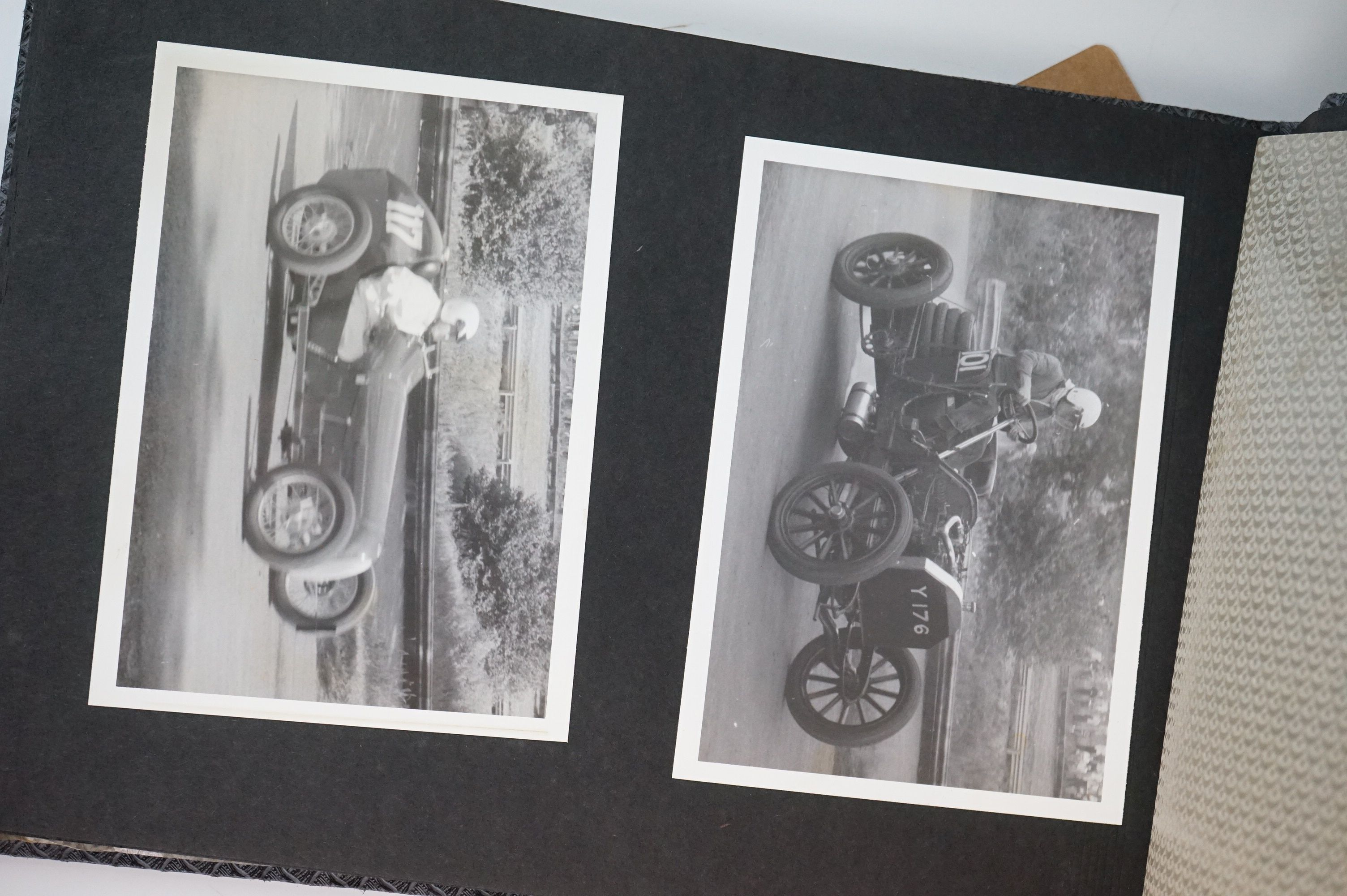 A vintage photograph album with vintage black and white photos of motor racing cars. - Image 4 of 5