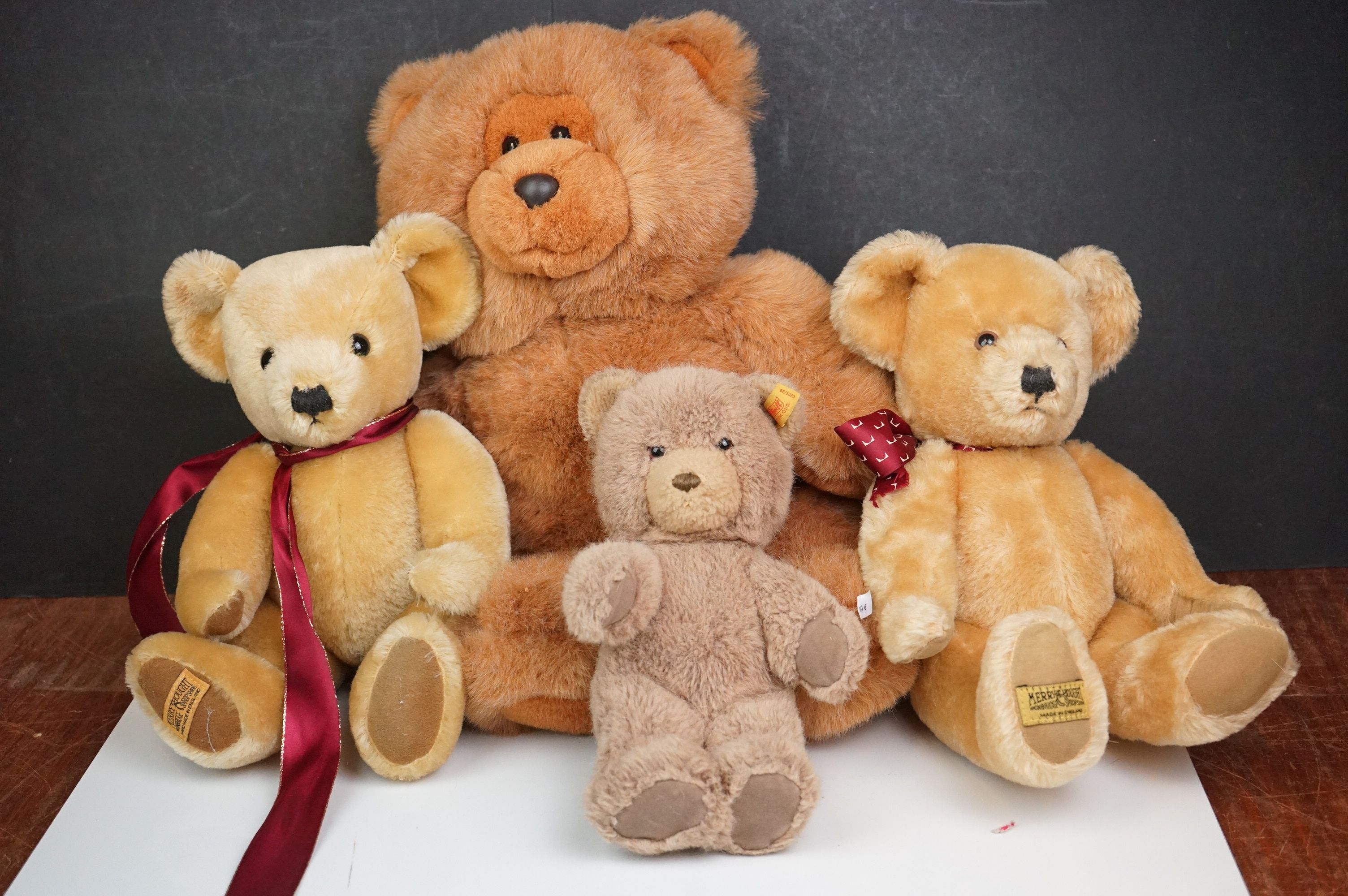 Steiff Teddy Bear, Two Merrythoughts Teddy Bears with Burgundy & Gold Ribbons to neck plus one