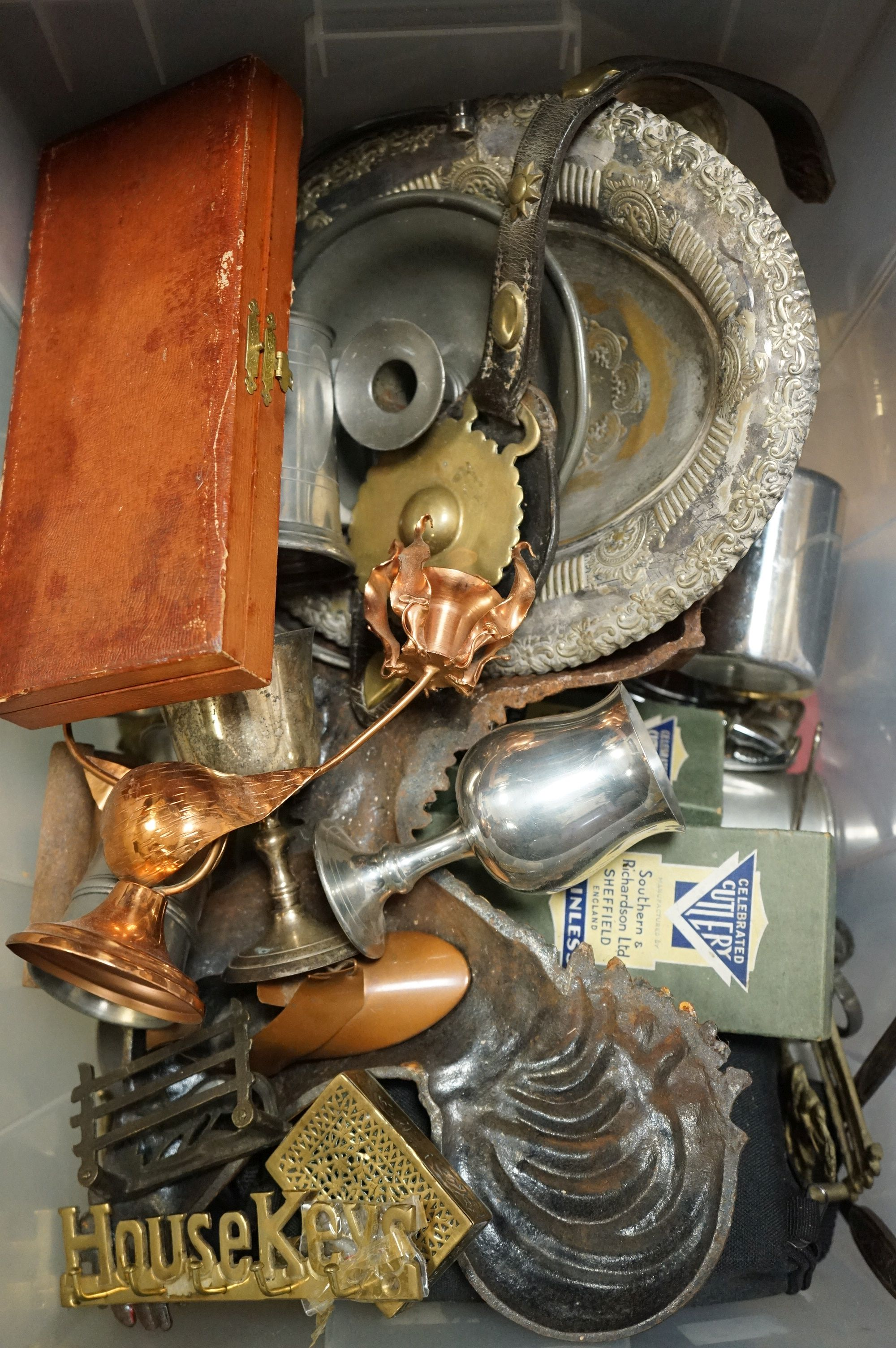 A box of mixed collectables to include silver plated items, copper ware and brass ware.
