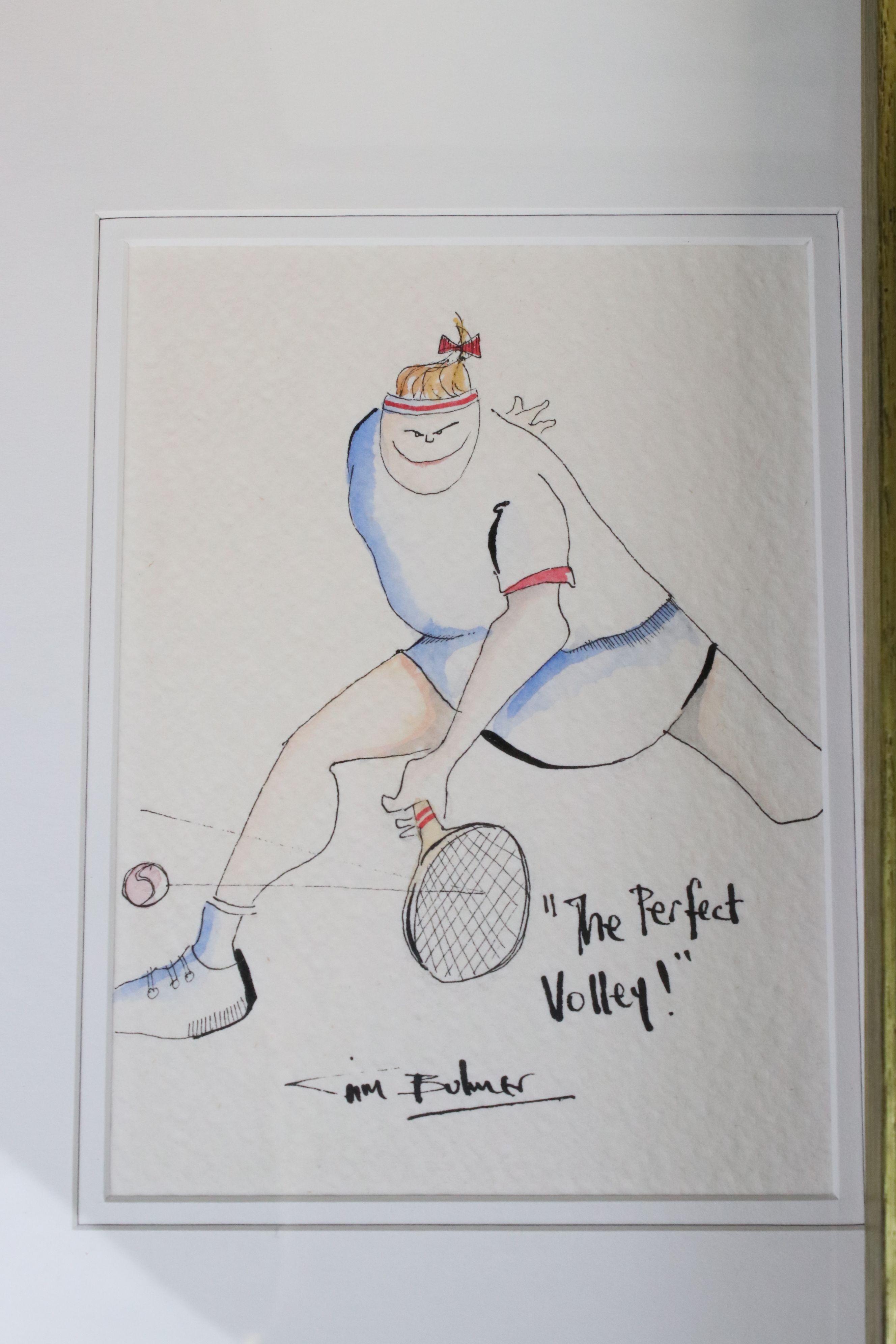 Tim Bulmer (cartoonist) a pair of humorous tennis watercolour cartoons & a signed Angela Fielder - Image 7 of 7