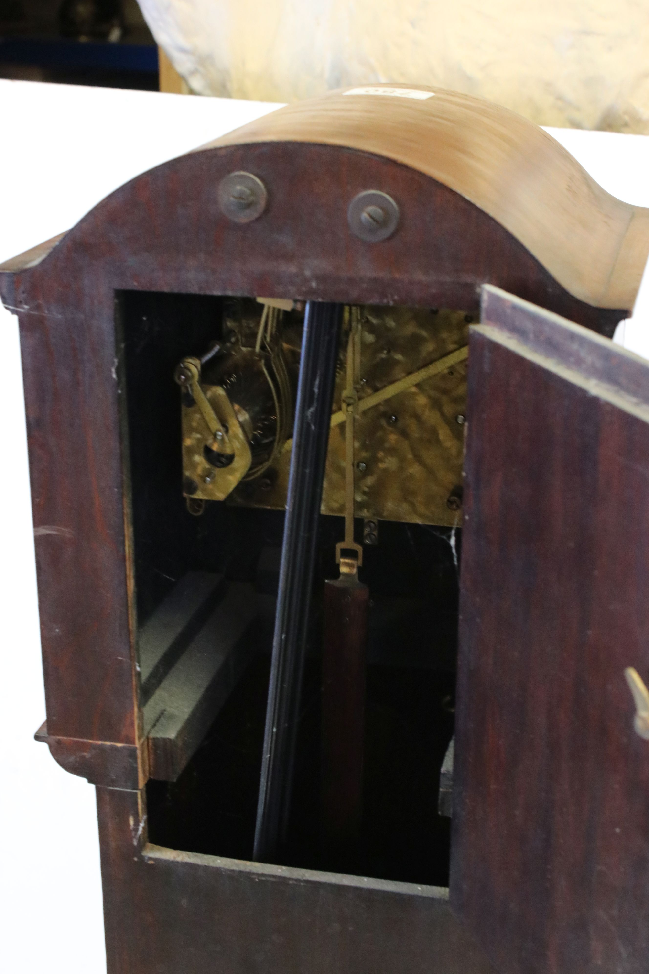 Early 20th century Mahogany Cased Grandmother Clock, the silvered face with Arabic numerals and - Image 3 of 3