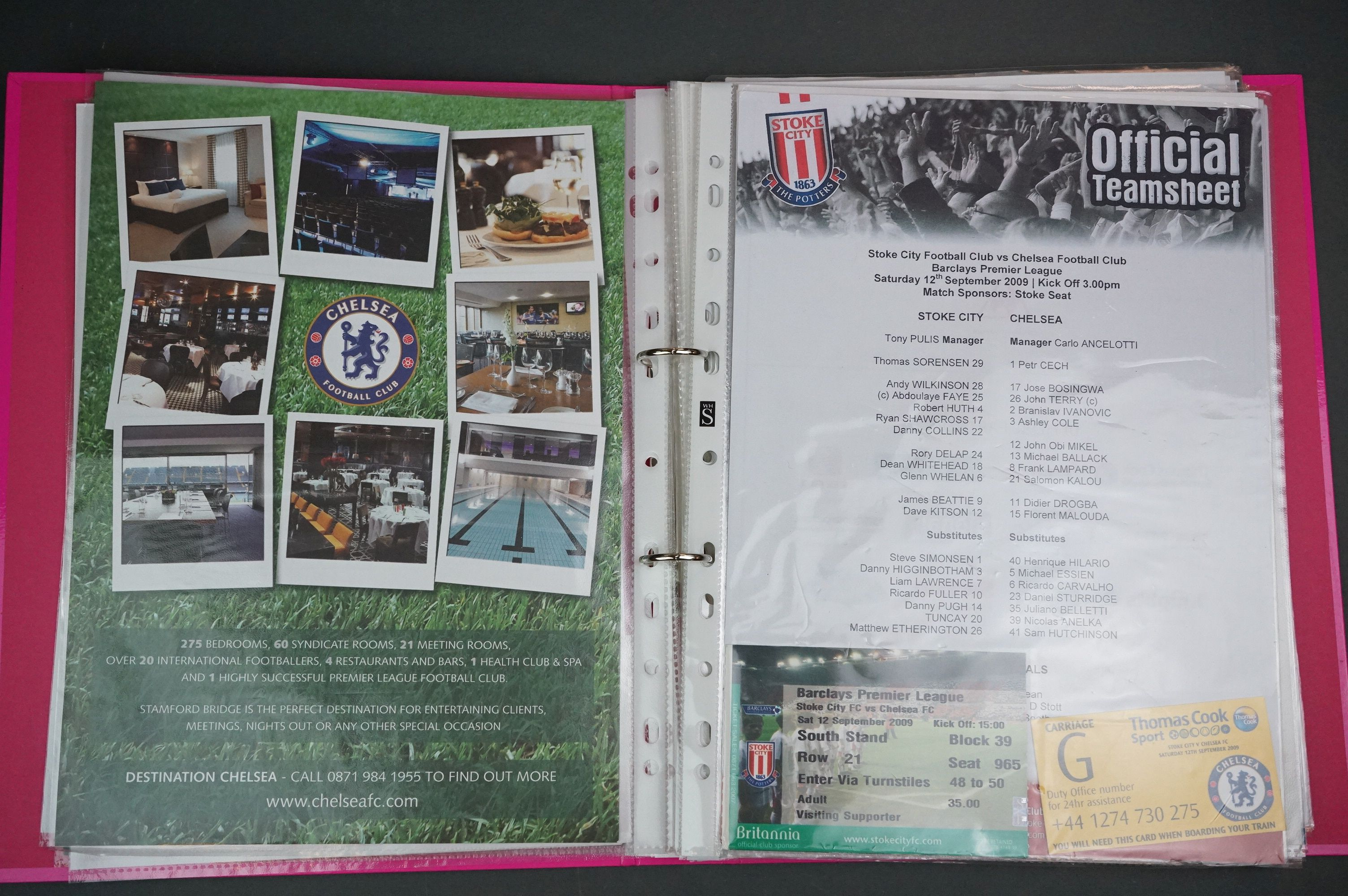 Football - Two binders containing a collection of home and away teamsheets, tickets etc for - Image 4 of 8