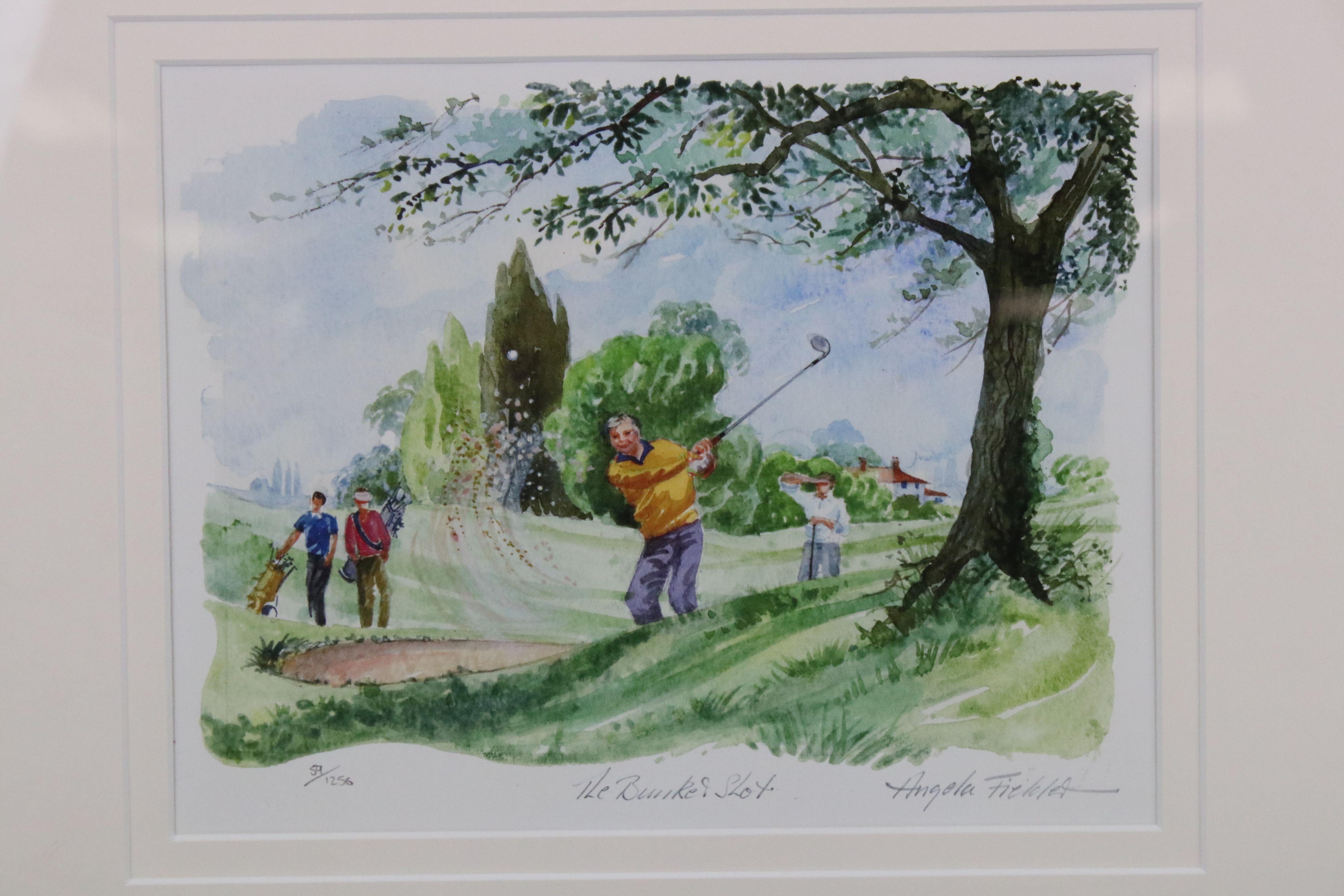 Tim Bulmer (cartoonist) a pair of humorous tennis watercolour cartoons & a signed Angela Fielder - Image 2 of 7