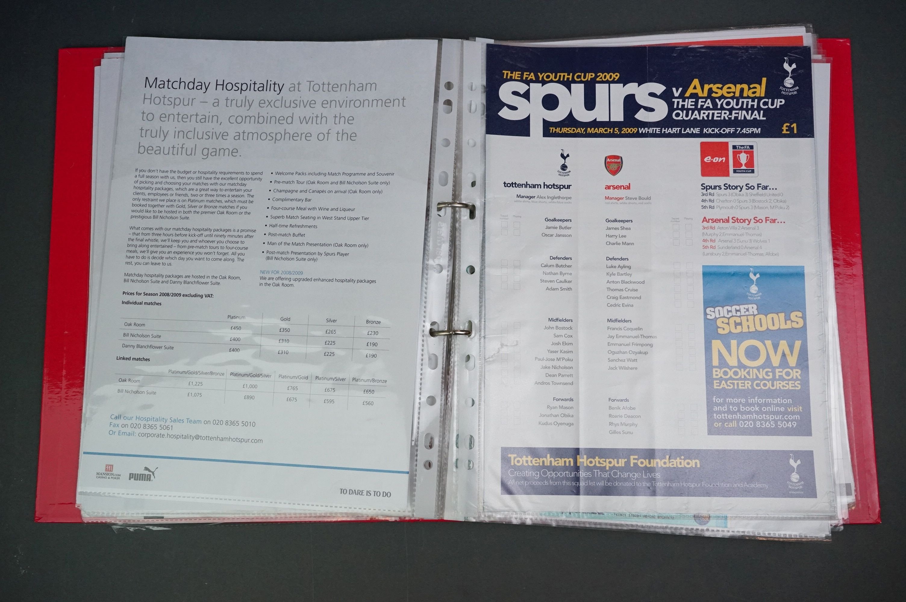 Football - FA Youth Cup 2007-11, a binder containing approx. 45 programmes, mostly single sheets, - Image 7 of 9