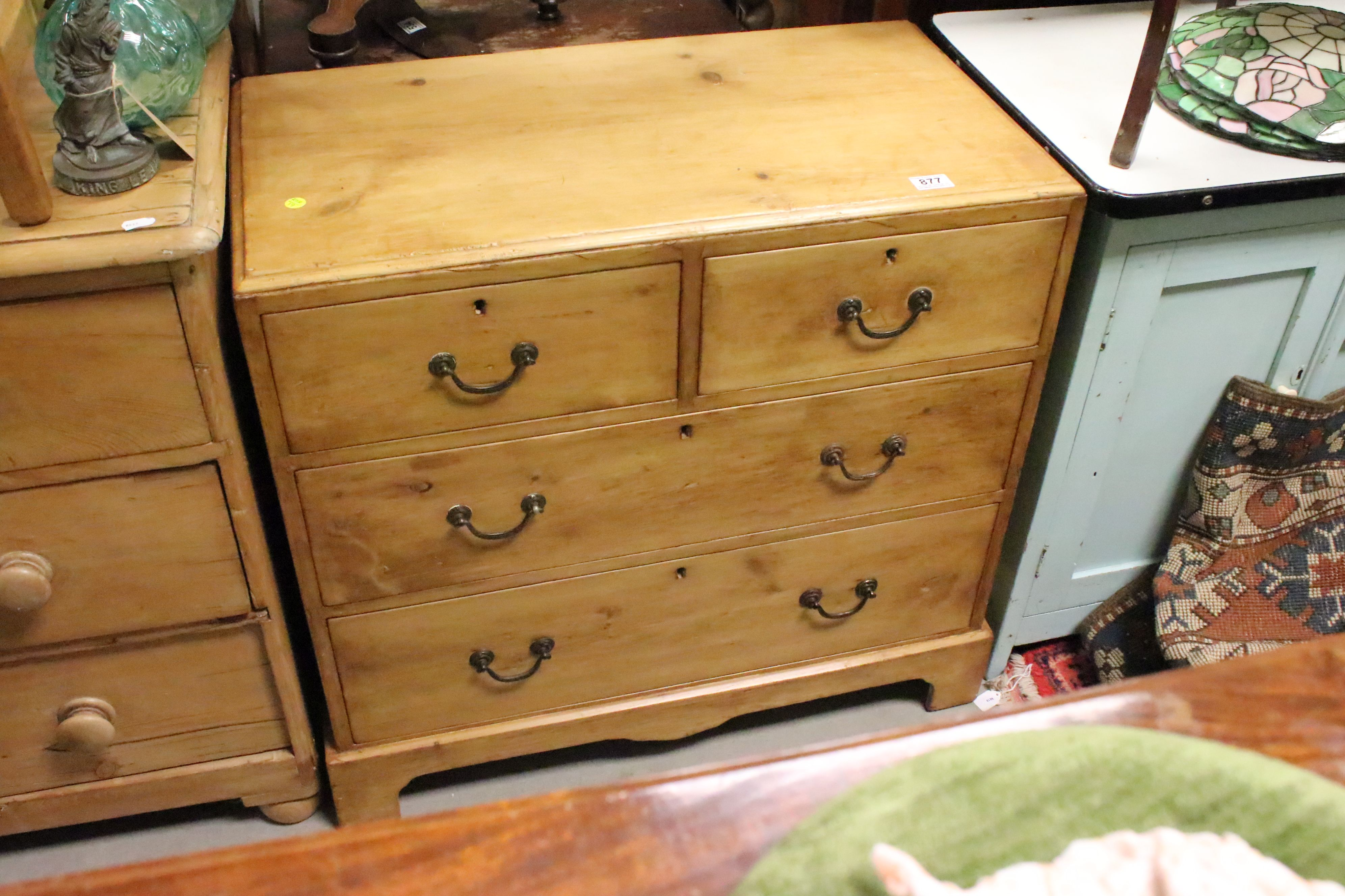 Victorian pine cottage chest of two short & two long drawers