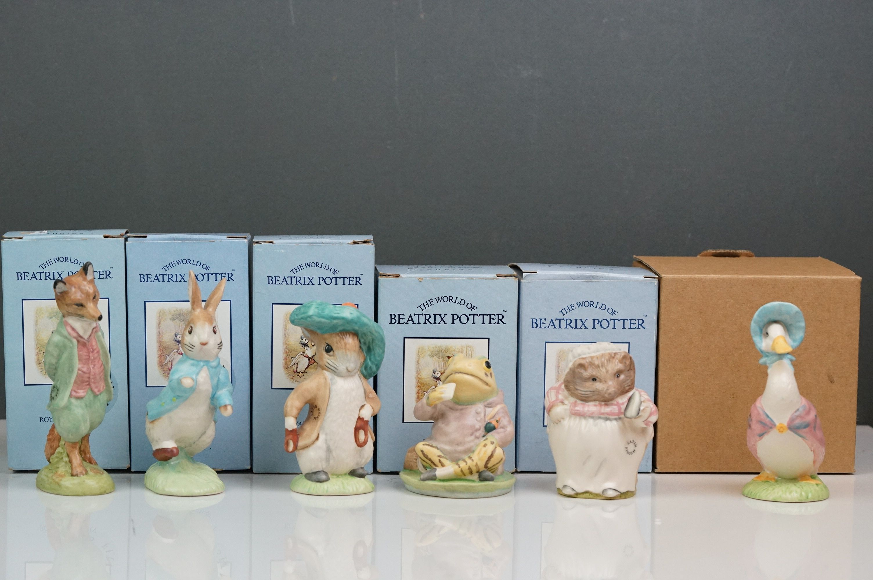 Beswick: the complete set of six satin finish figurines, all with Beswick backstamp 11A; all but one