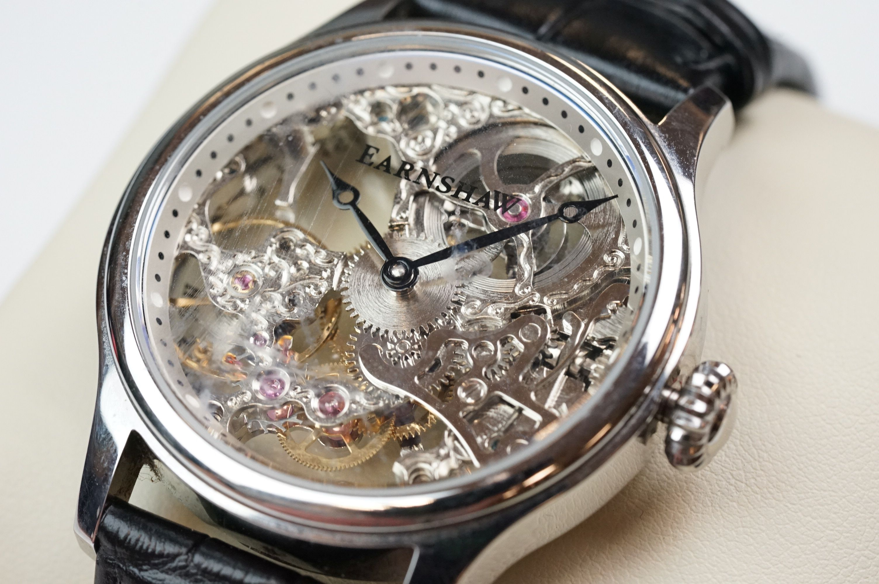Earnshaw Gents wristwatch, skeleton face and dial, WR 5 ATM 8049, together with paperwork, box and - Image 2 of 9