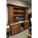 Large 18th / Early 19th century Pine Dresser, the upper section with three shelves flanked either
