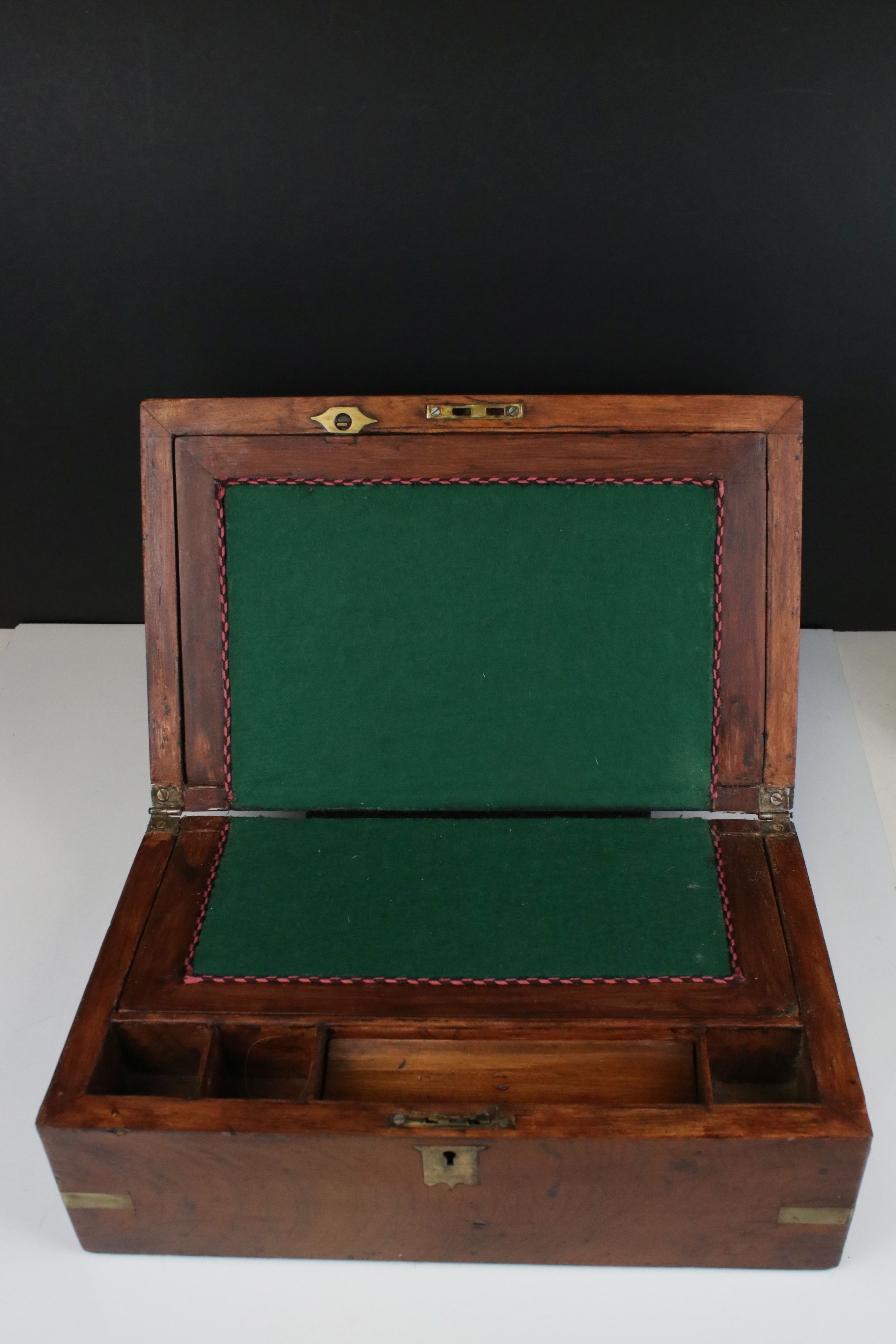 19th century Mahogany and Brass Mounted Writing Slope Box, 35cms wide - Image 2 of 4