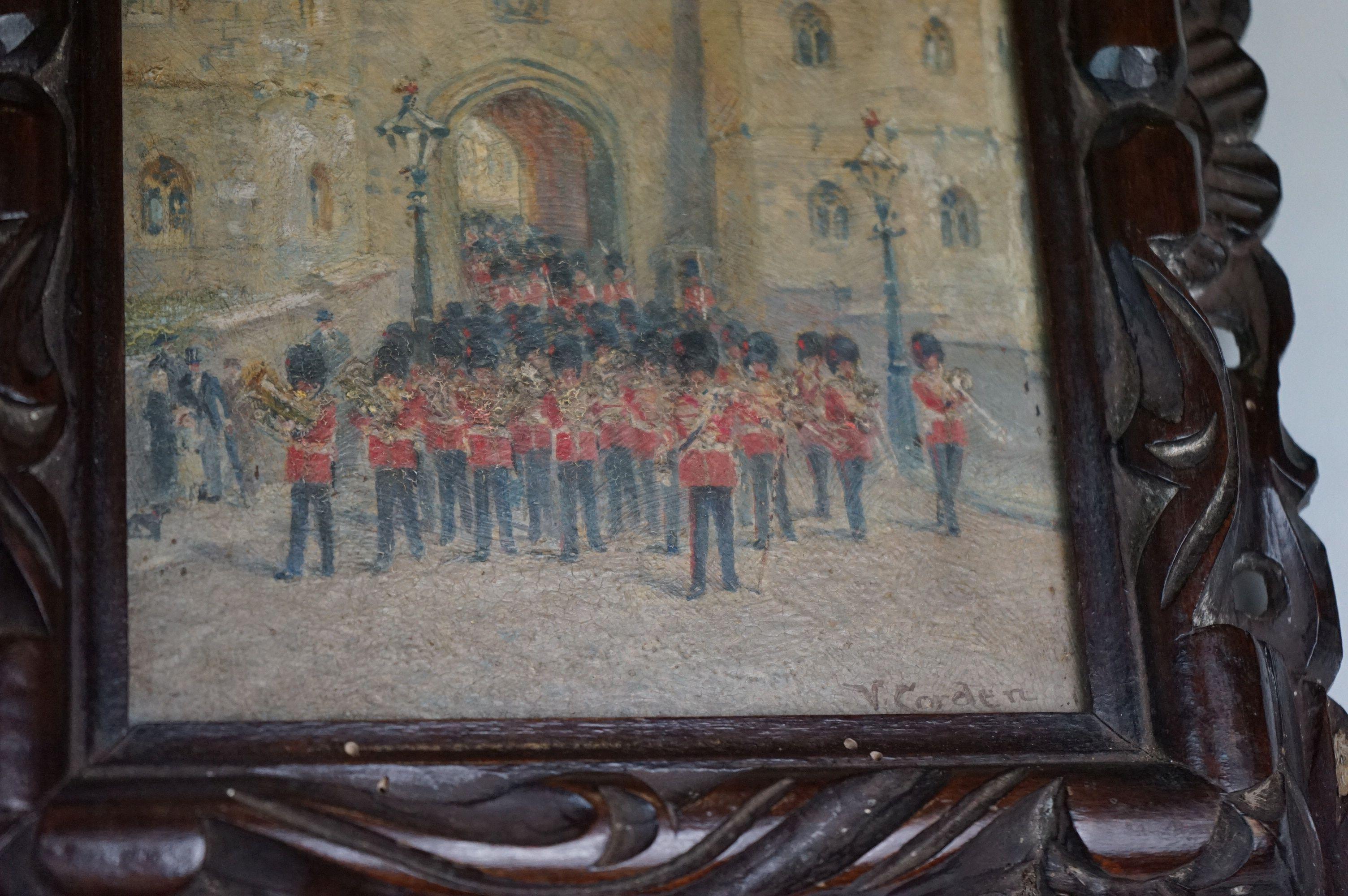 Vintage oil on board of Coldstream Guards outside Henry VIII gateway, signed Victor M Gordon - Image 2 of 4