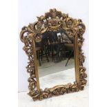 Large pierced gilt framed ornate mirror