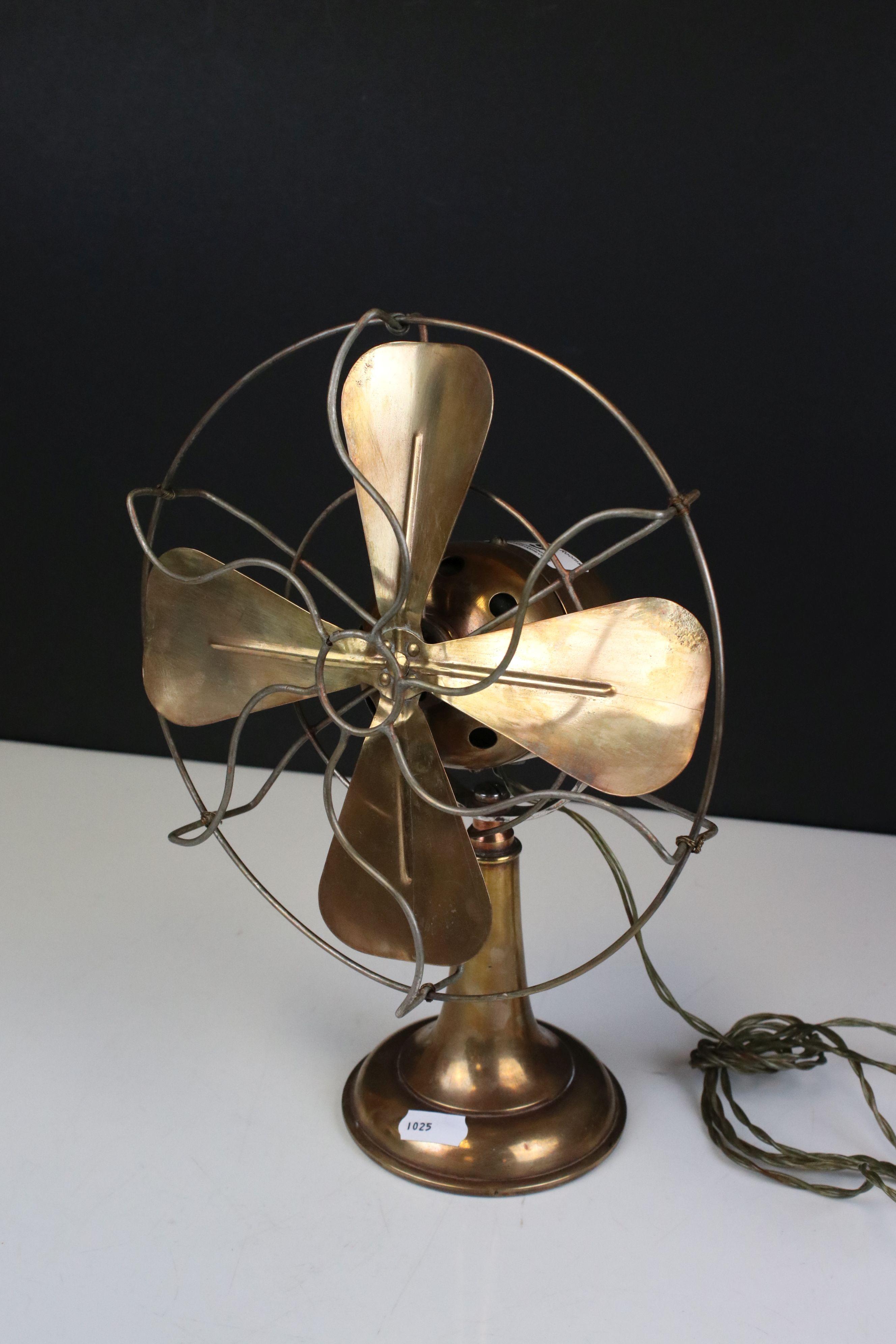 Early 20th century Brass Desk Fan, 32cms high