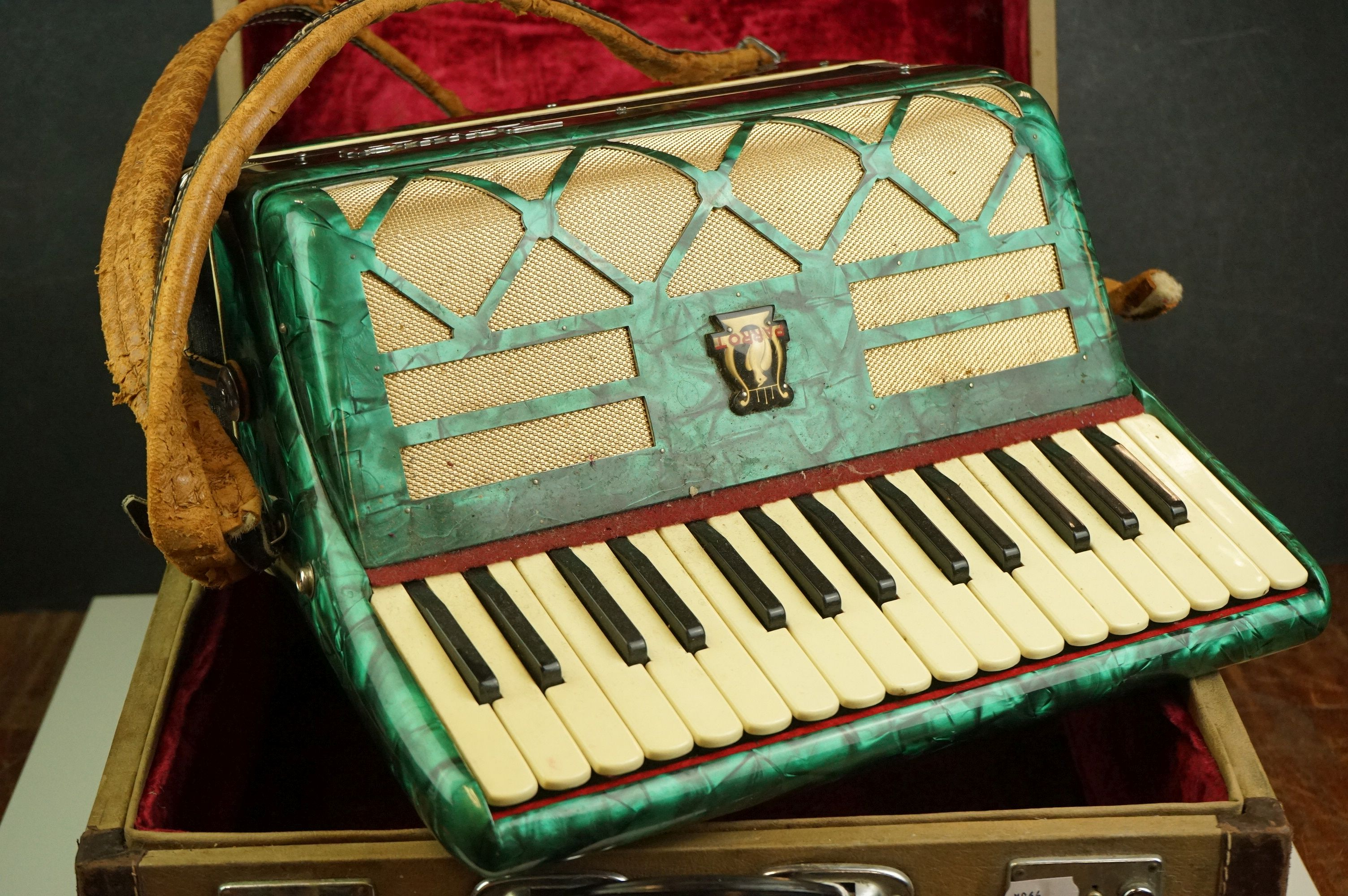 A vintage Parrot Accordion in green in original fitted case. - Image 2 of 10