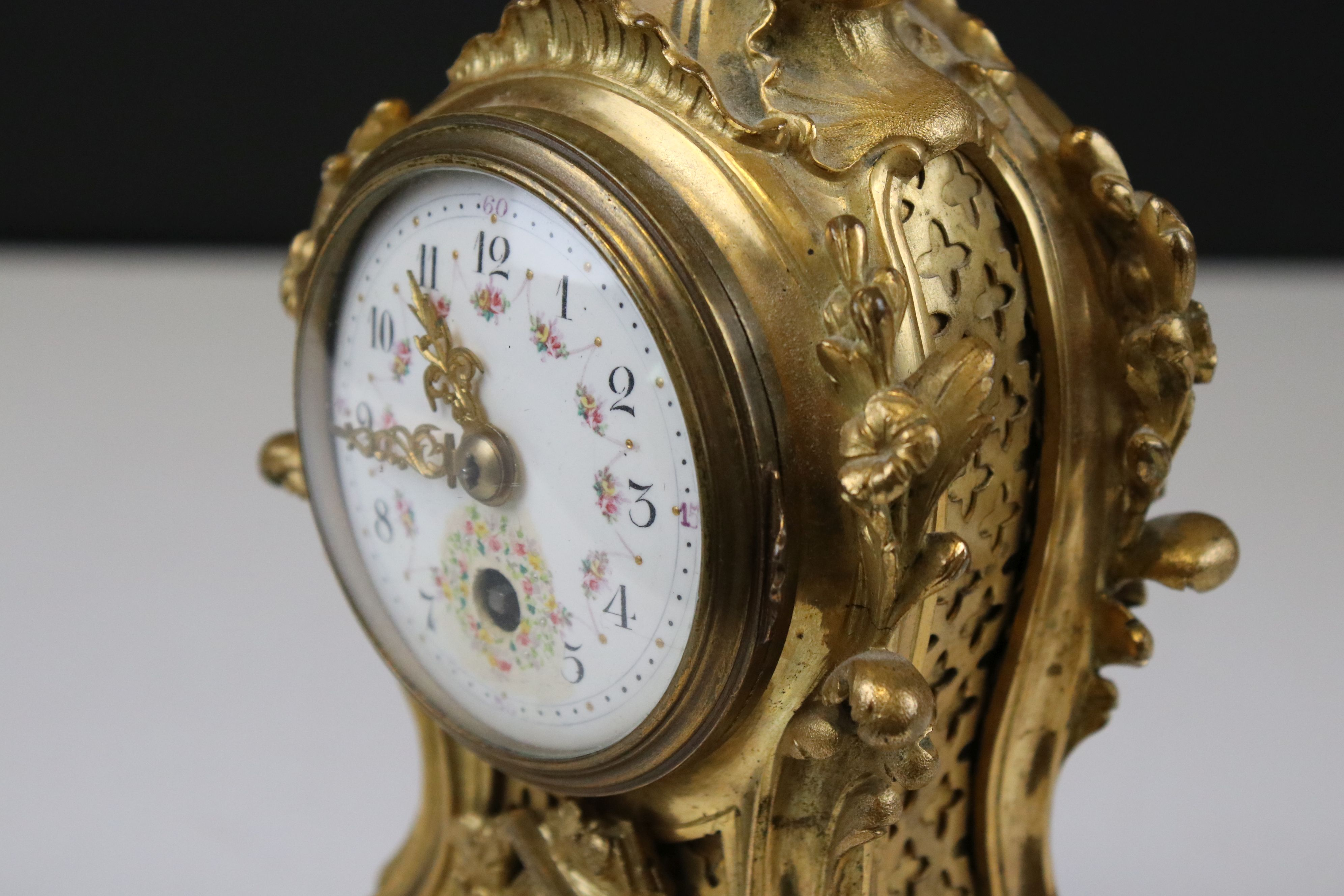 Late 19th century French gilt metal Clock, painted dial in scrolling 18th century style case- gilded - Image 3 of 7