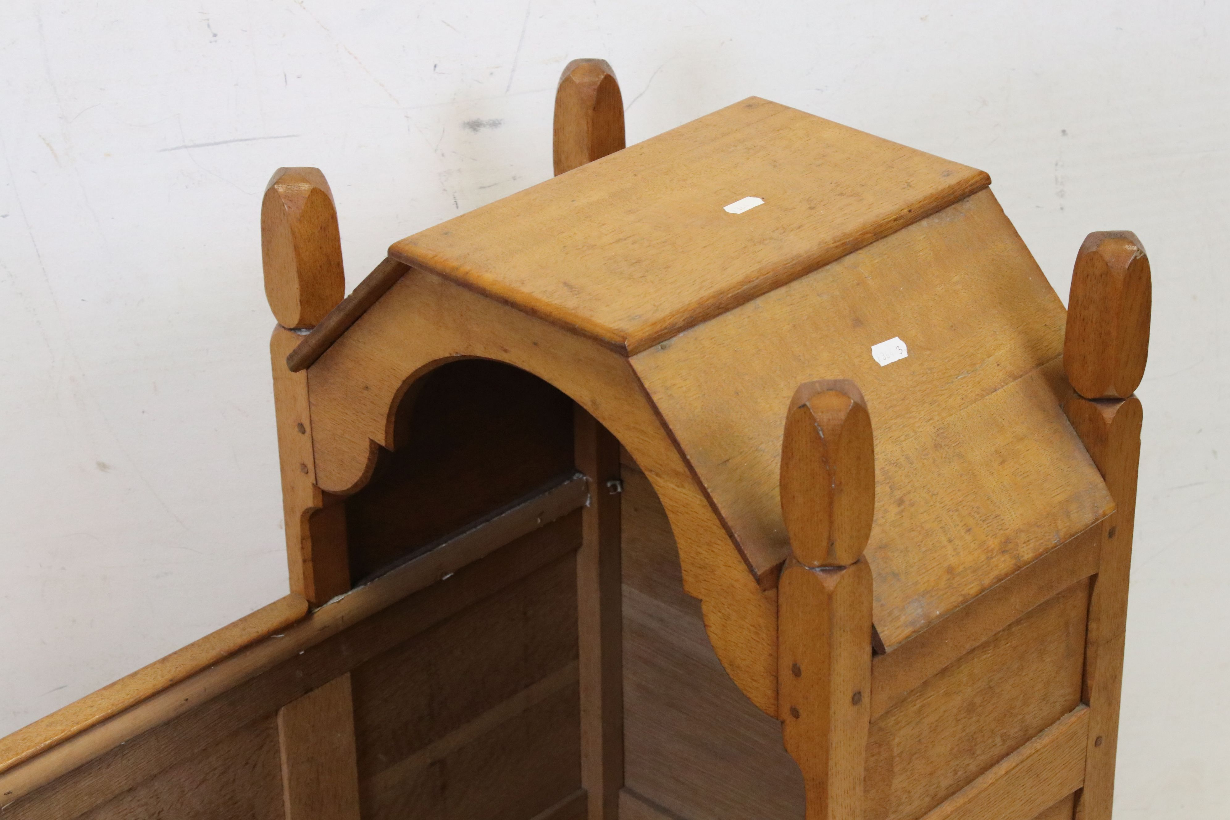 Oak Rocking Crib of panelled construction in the Cotswold School manner, 81cms long - Image 2 of 4