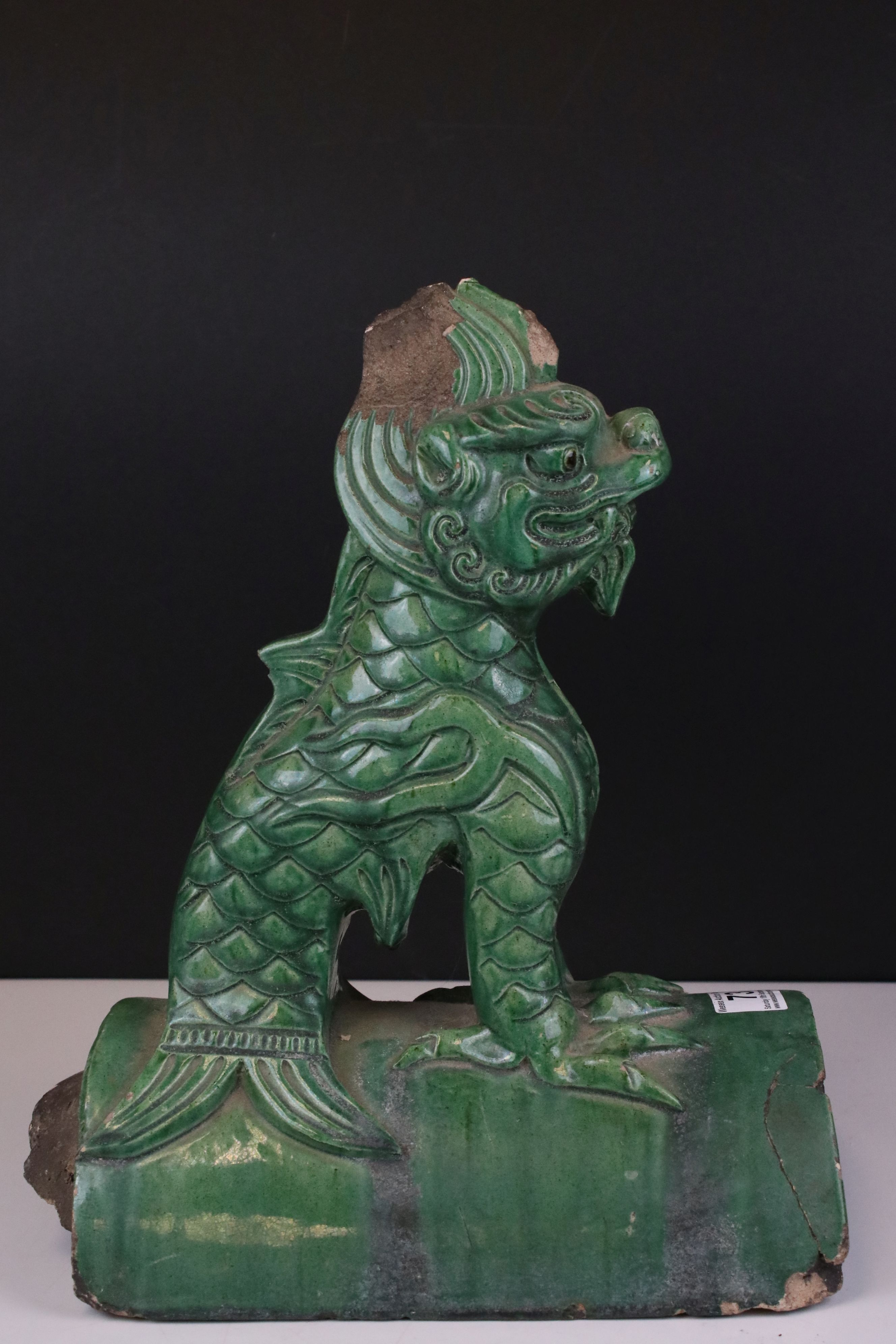 Chinese Green Glazed Pottery Roof Ridge Tile surmounted by a Mythical Creature, 34cms high - Image 2 of 6