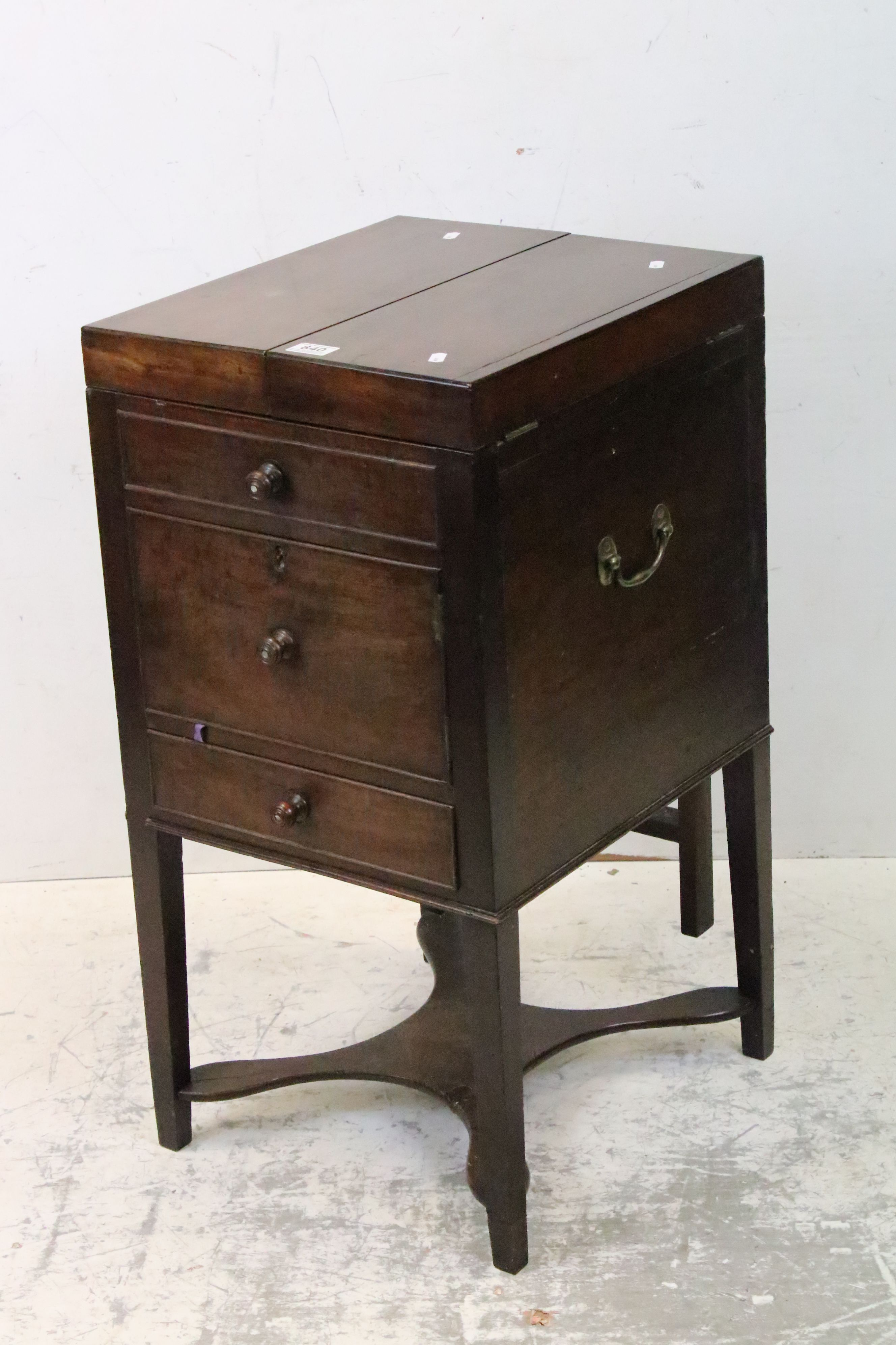 George III Mahogany Nightstand, the double hinged top opening to a pull-up mirror and lift up