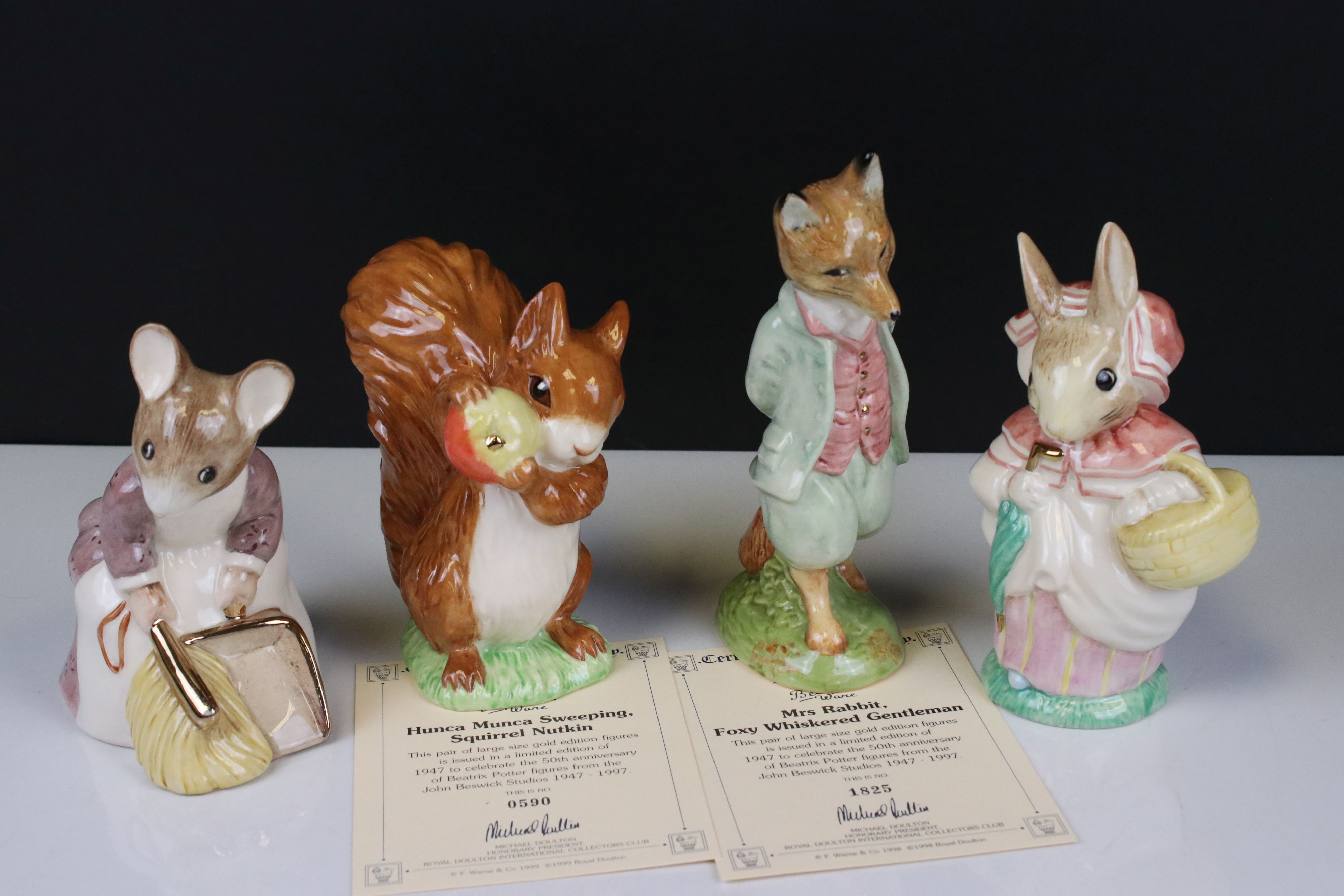Two Pairs of Beswick Ware Gold Script Large Beatrix Potter Figures, ' Mrs Rabbit & Foxy Whiskered