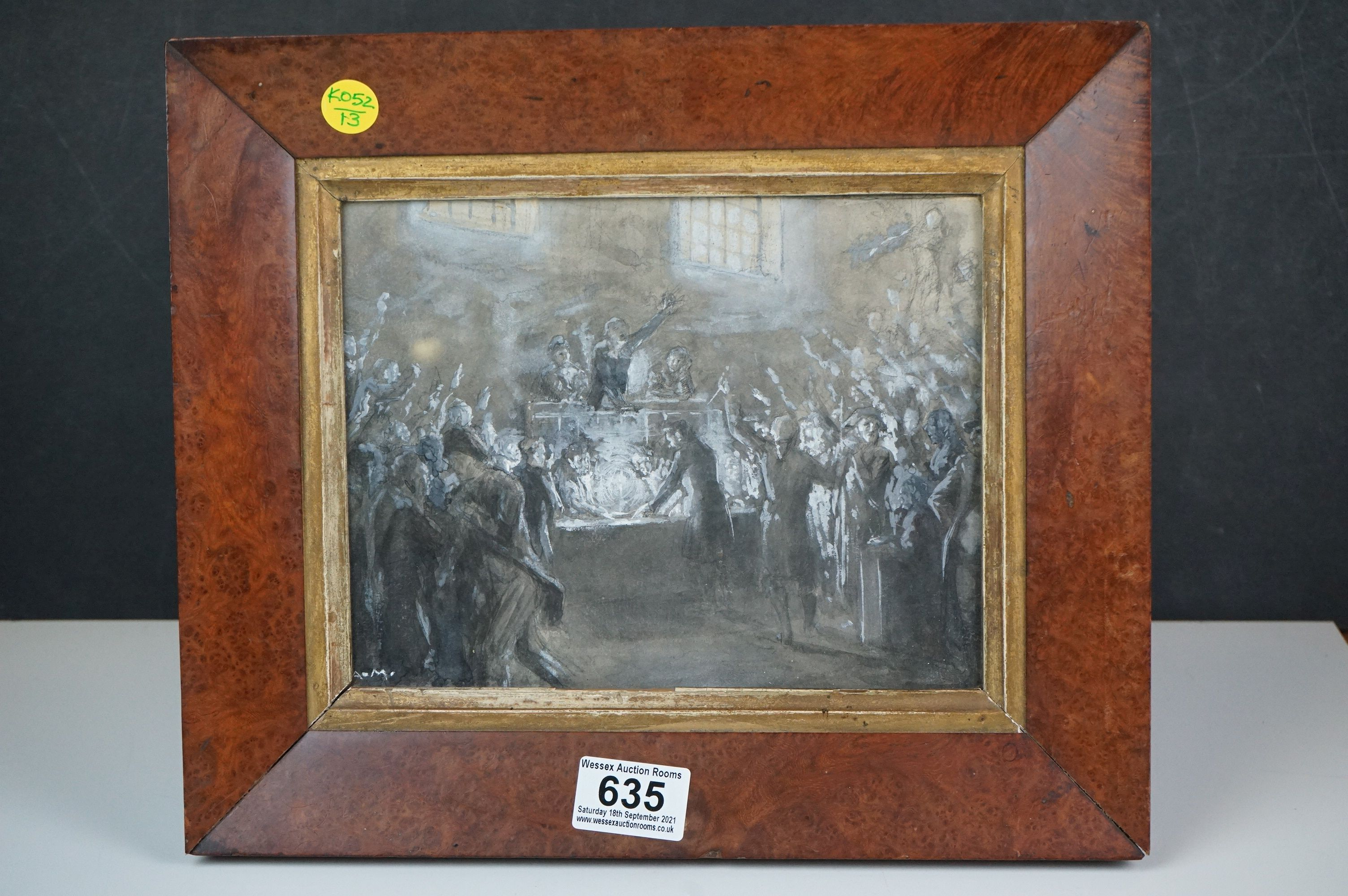 Watercolour of 19th century parliamentary figures casting a vote, possibly French