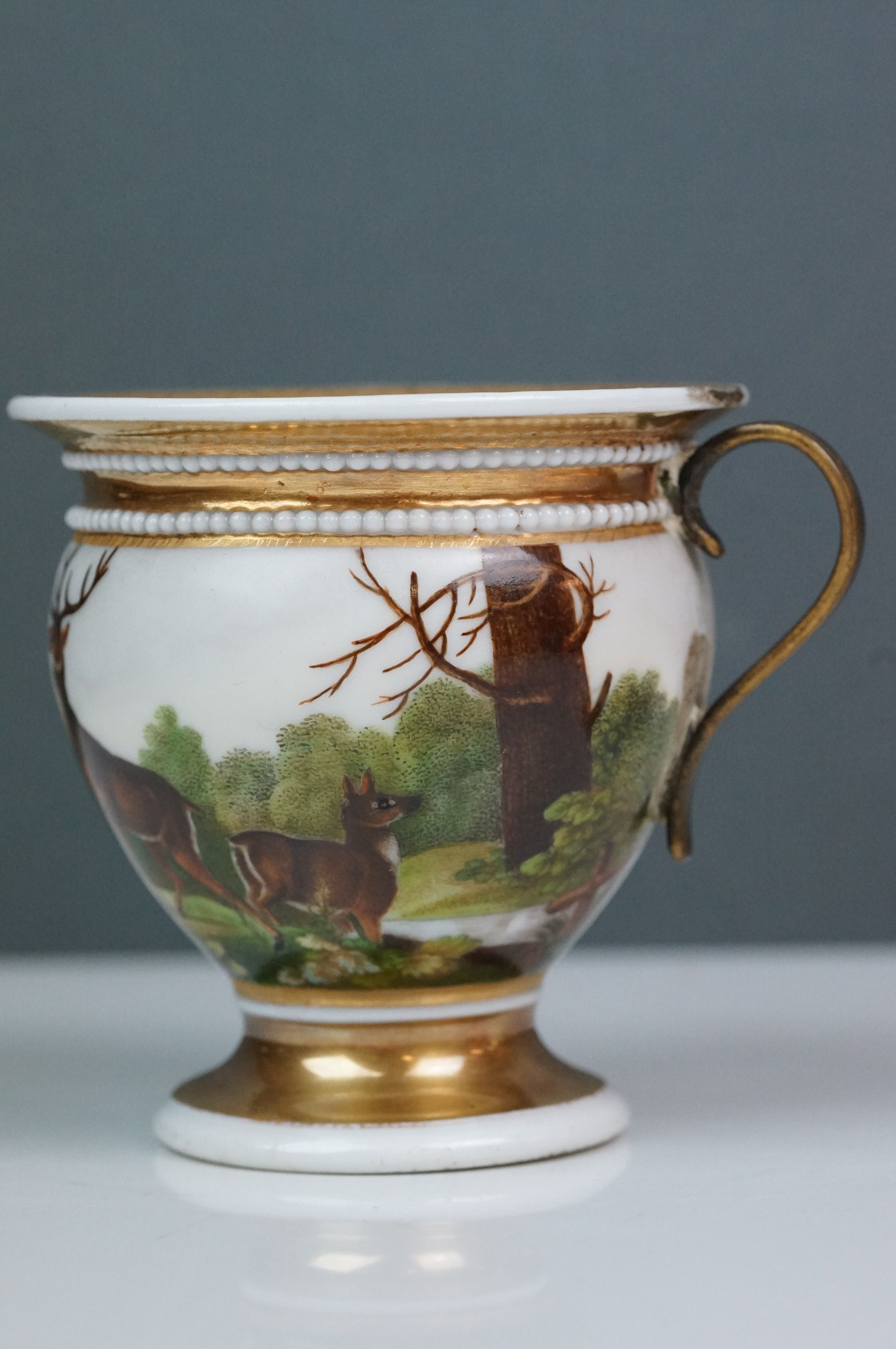 Pair of hand painted Dresden cups, each depicting a different scene: castle and lake scene with - Image 10 of 10