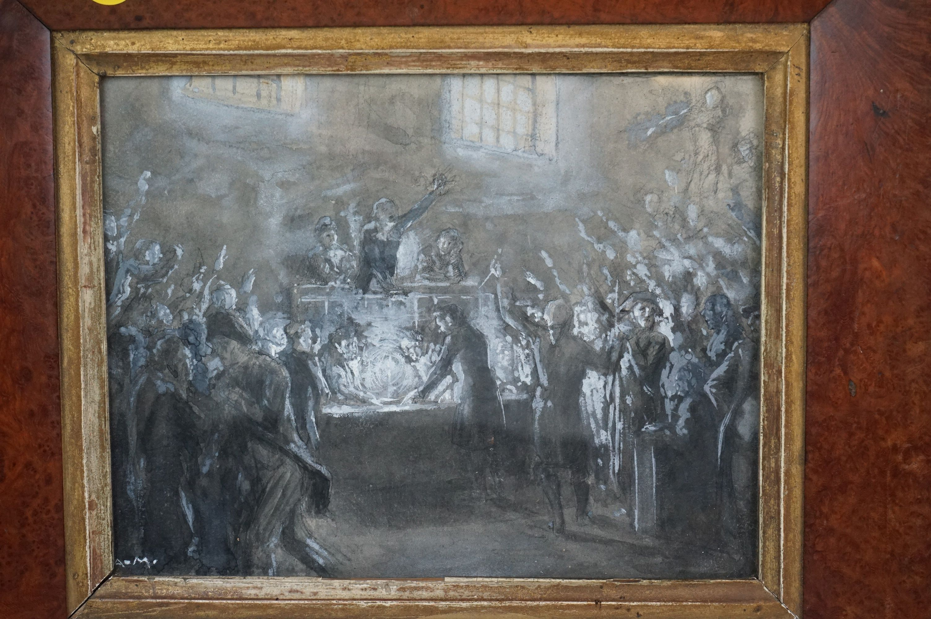 Watercolour of 19th century parliamentary figures casting a vote, possibly French - Image 2 of 5