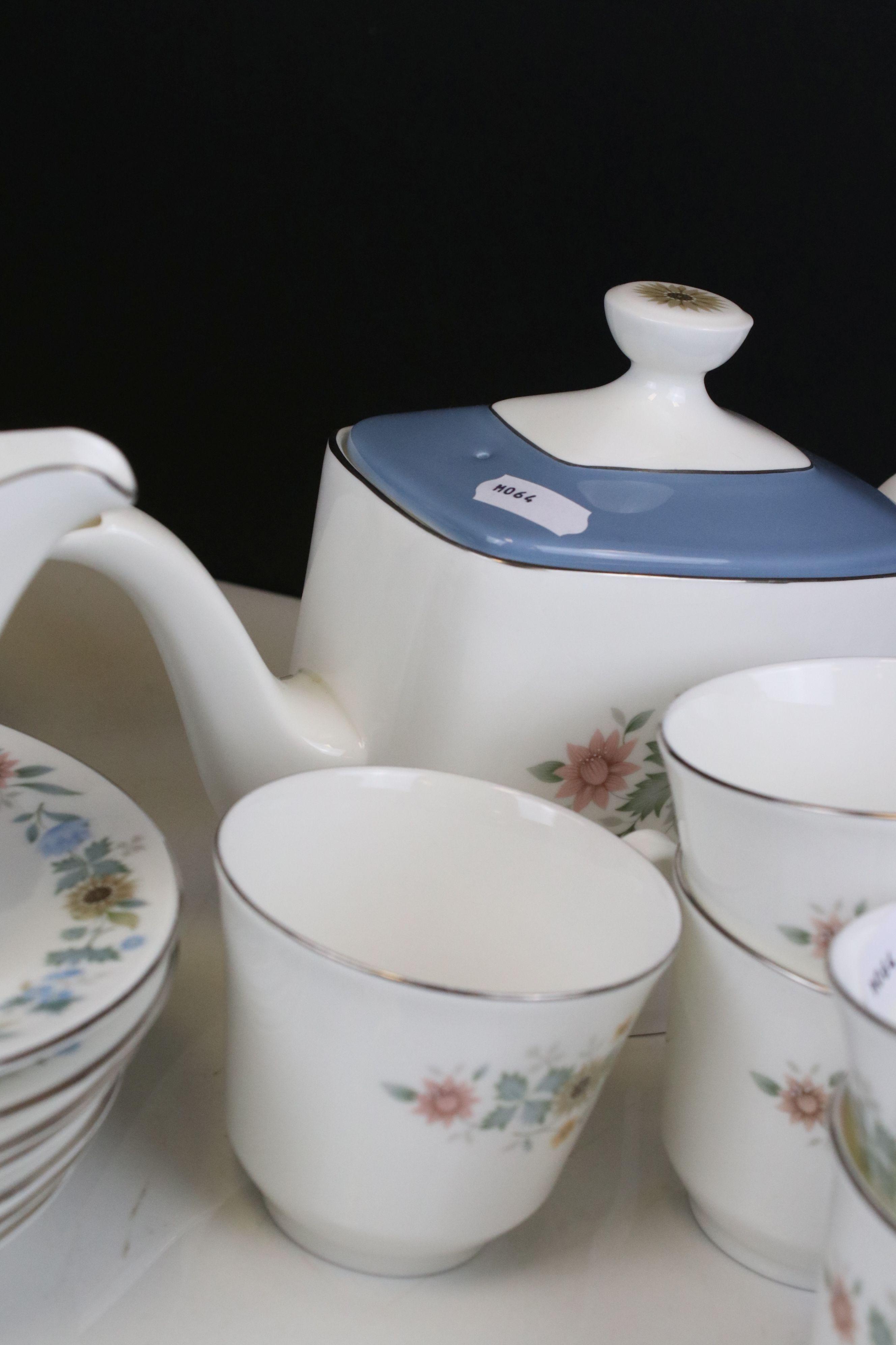 Royal Doulton ' Pastorale ' Tea Set comprising Two Teapots, Milk, Sugar, 6 Cups and 7 Saucers - Image 5 of 7