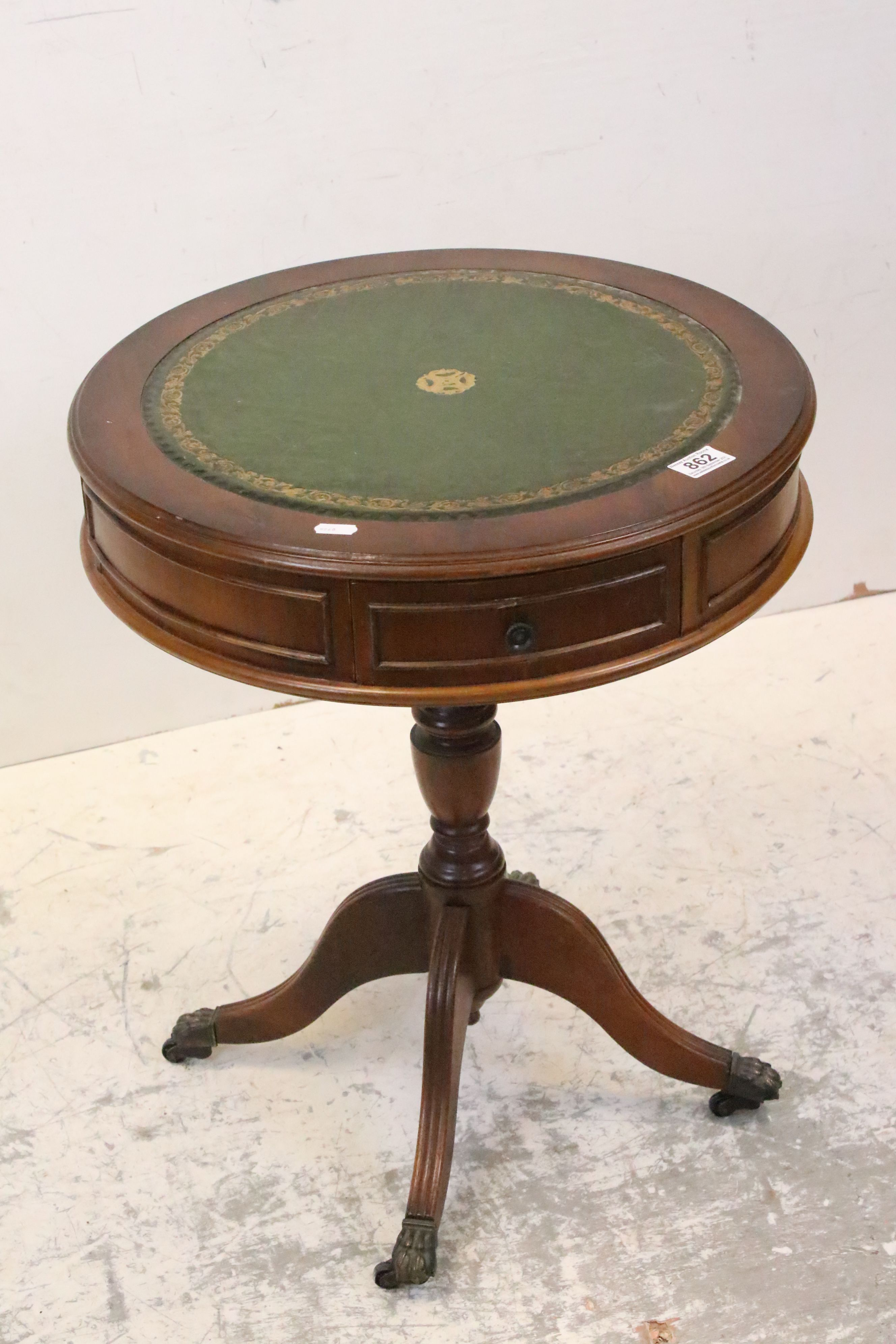 Reproduction Drum Table with Green Leather Inset Top, 49cms wide x 62cms high