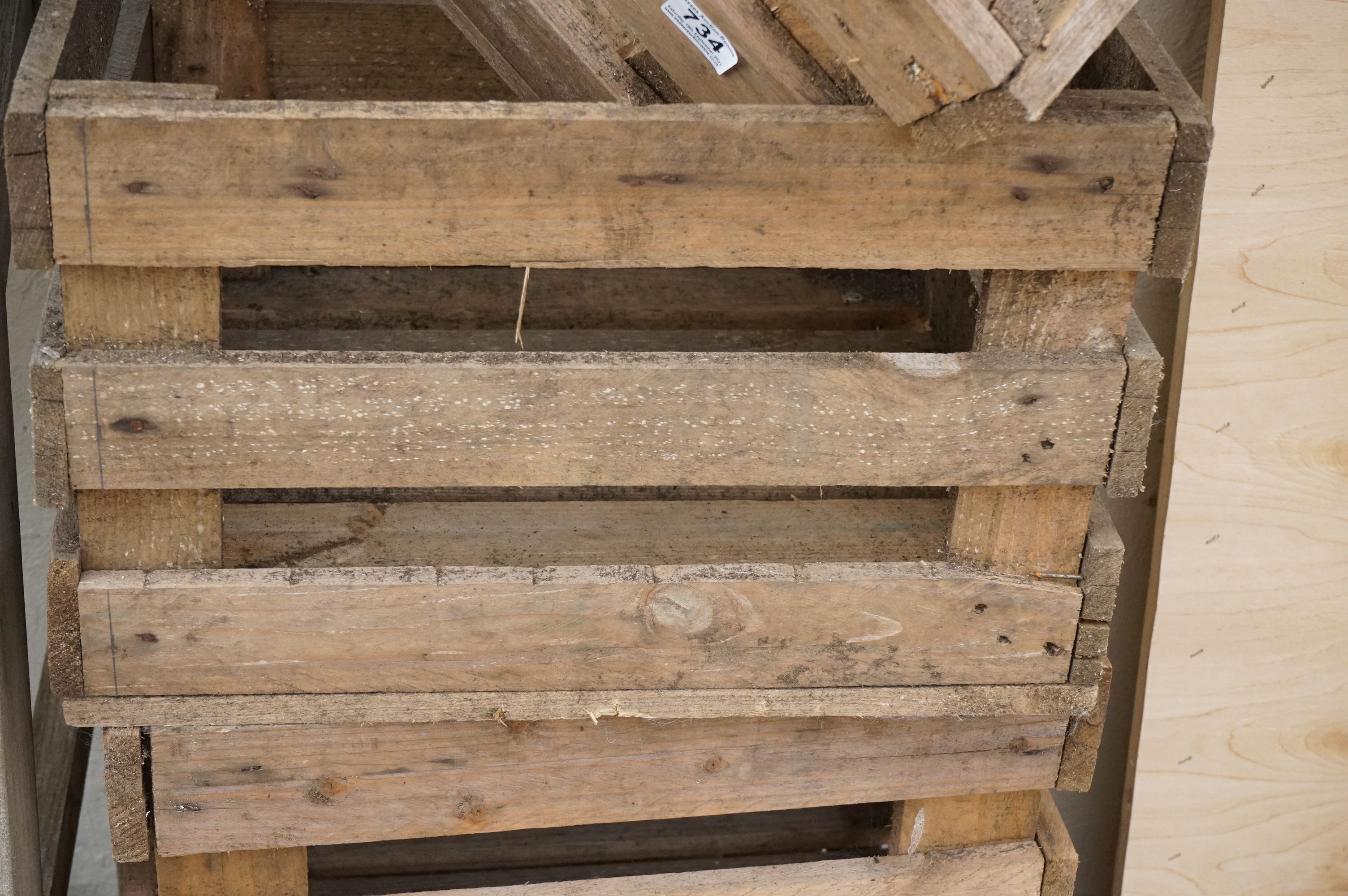 Four stacking pine crates for apples / vegetables - Image 2 of 4