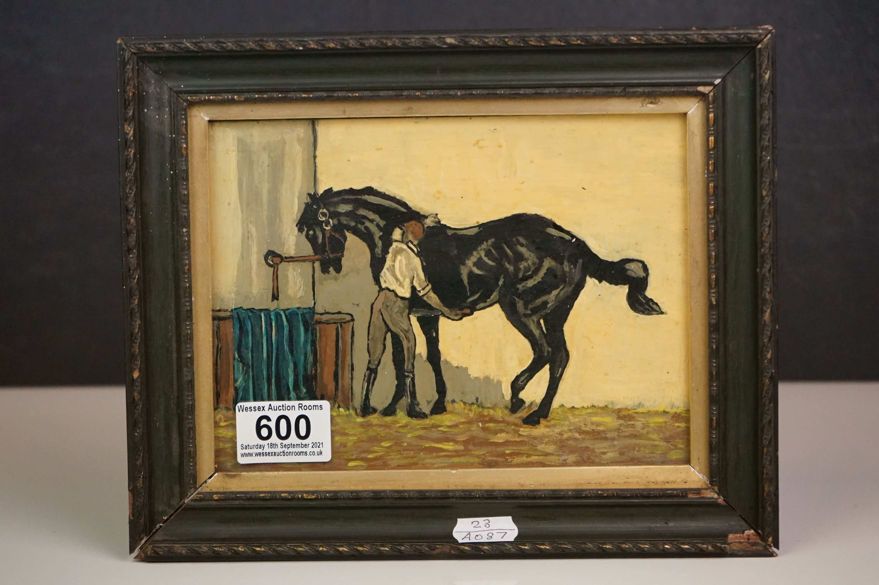 Oil painting of a racehorse and groom