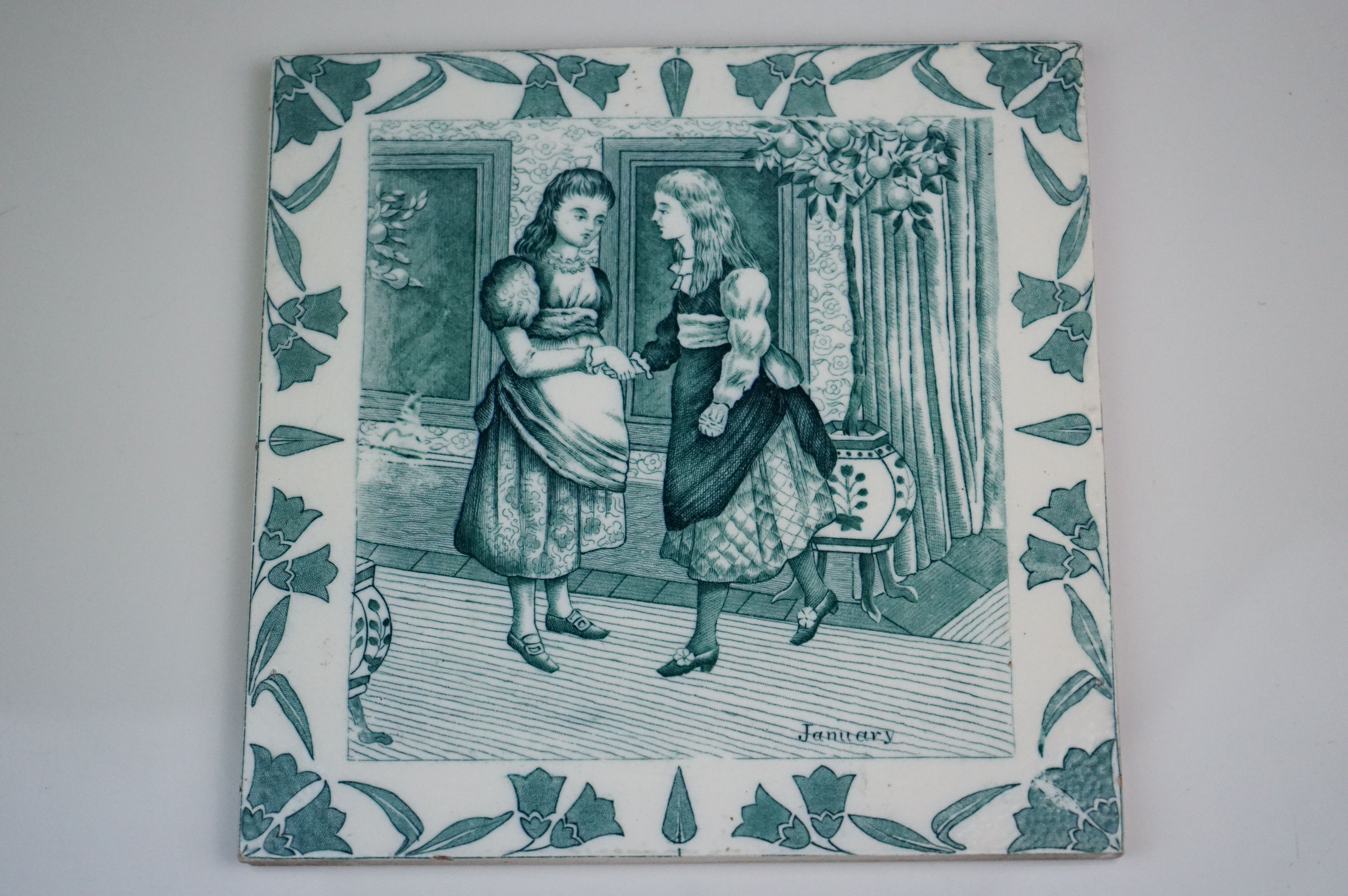 """Three Wedgwood Etruria 8"""" Old English tiles, May, August & January - Image 3 of 6"""