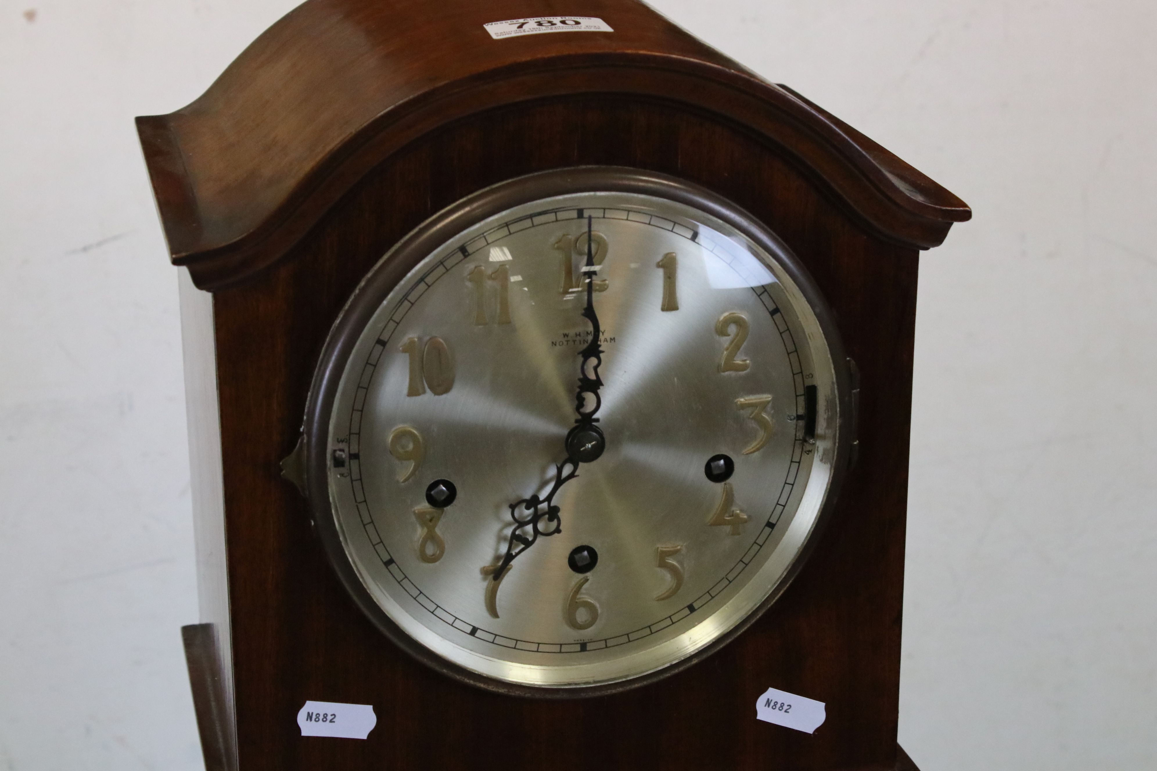 Early 20th century Mahogany Cased Grandmother Clock, the silvered face with Arabic numerals and - Image 2 of 3