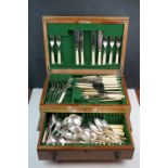 A part canteen of cutlery to include silver plated and bone handled examples.