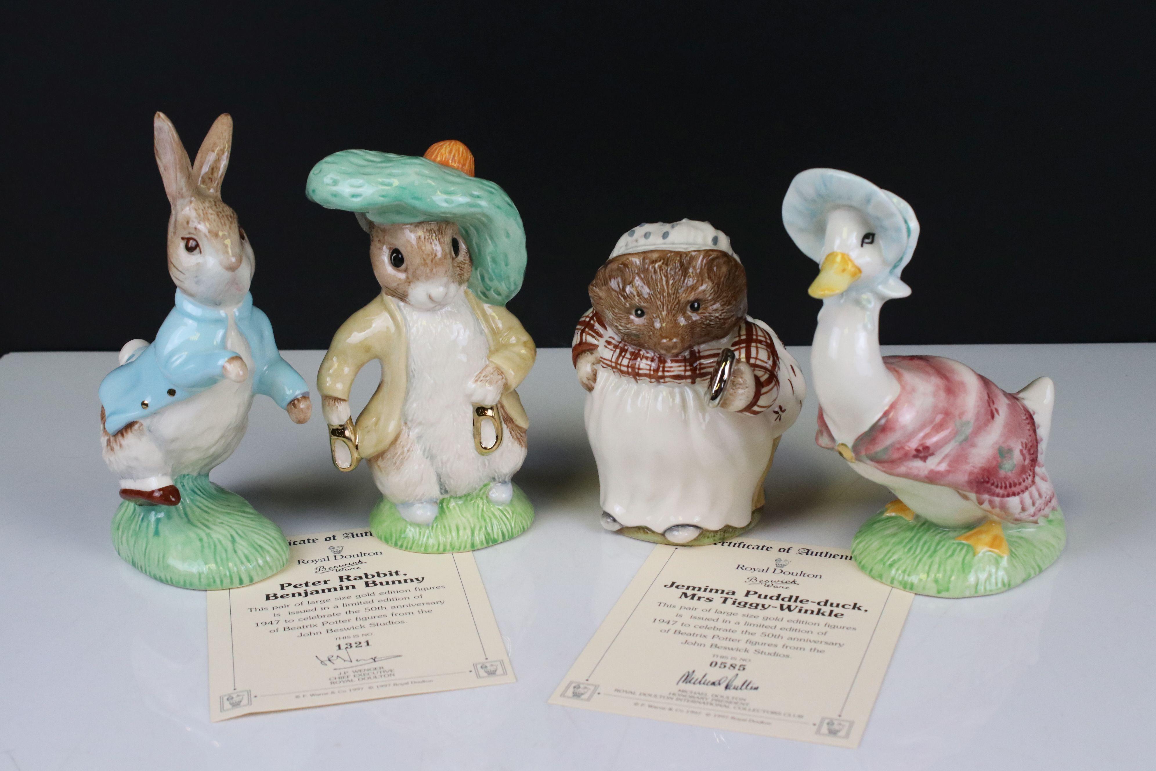 Two Pairs of Beswick Ware Gold Script Large Beatrix Potter Figures, ' Peter Rabbit & Benjamin