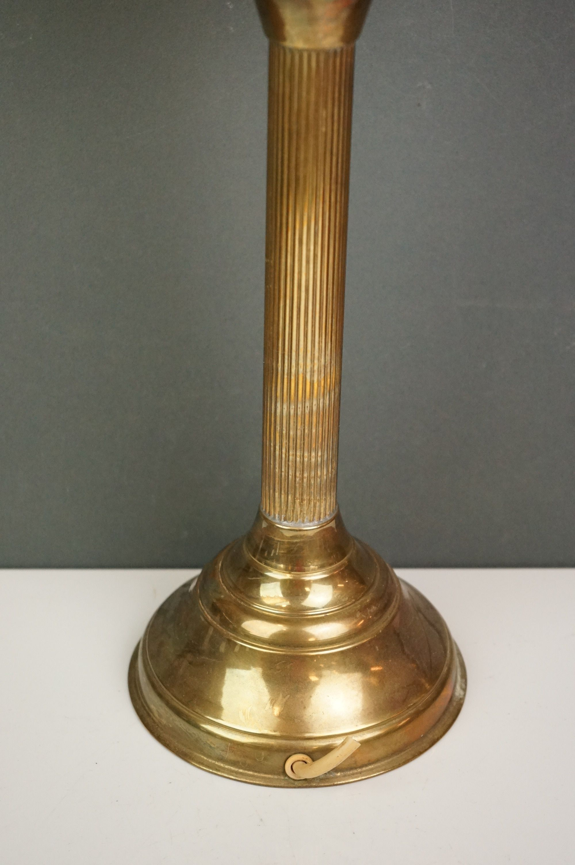 A vintage brass oil lamp with orange glass shade converted to electric. - Image 3 of 4