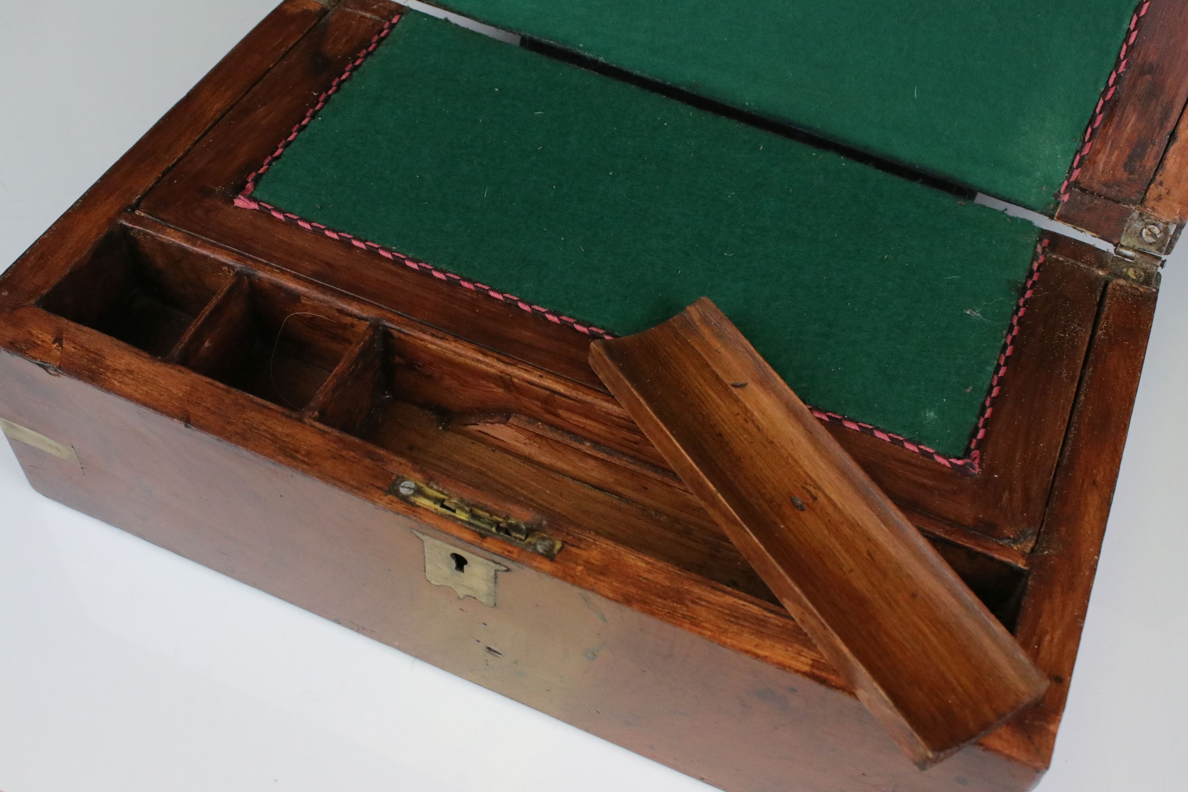 19th century Mahogany and Brass Mounted Writing Slope Box, 35cms wide - Image 3 of 4