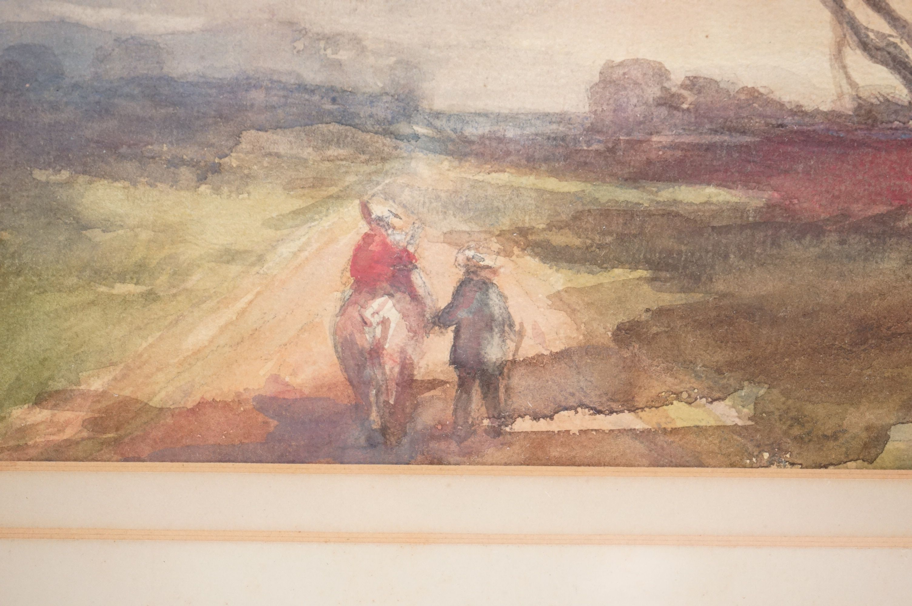 Late 19th / Early 20th century Watercolour titled ' Peasants returning home at eventide ', 34cms x - Image 3 of 4
