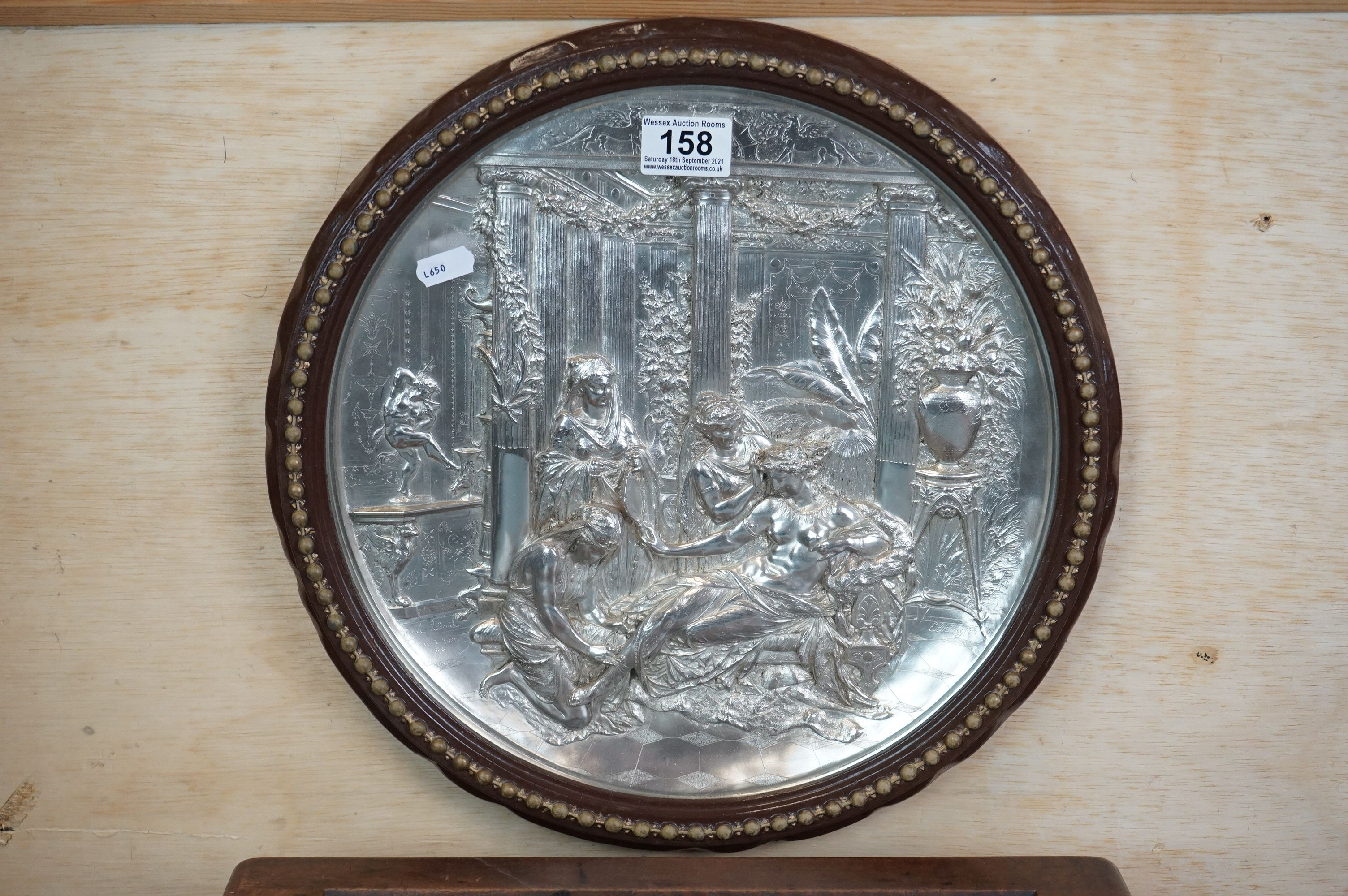 Elkington Silver Plated Circular Wall Plaque with embossed classical scene decoration, 32cms