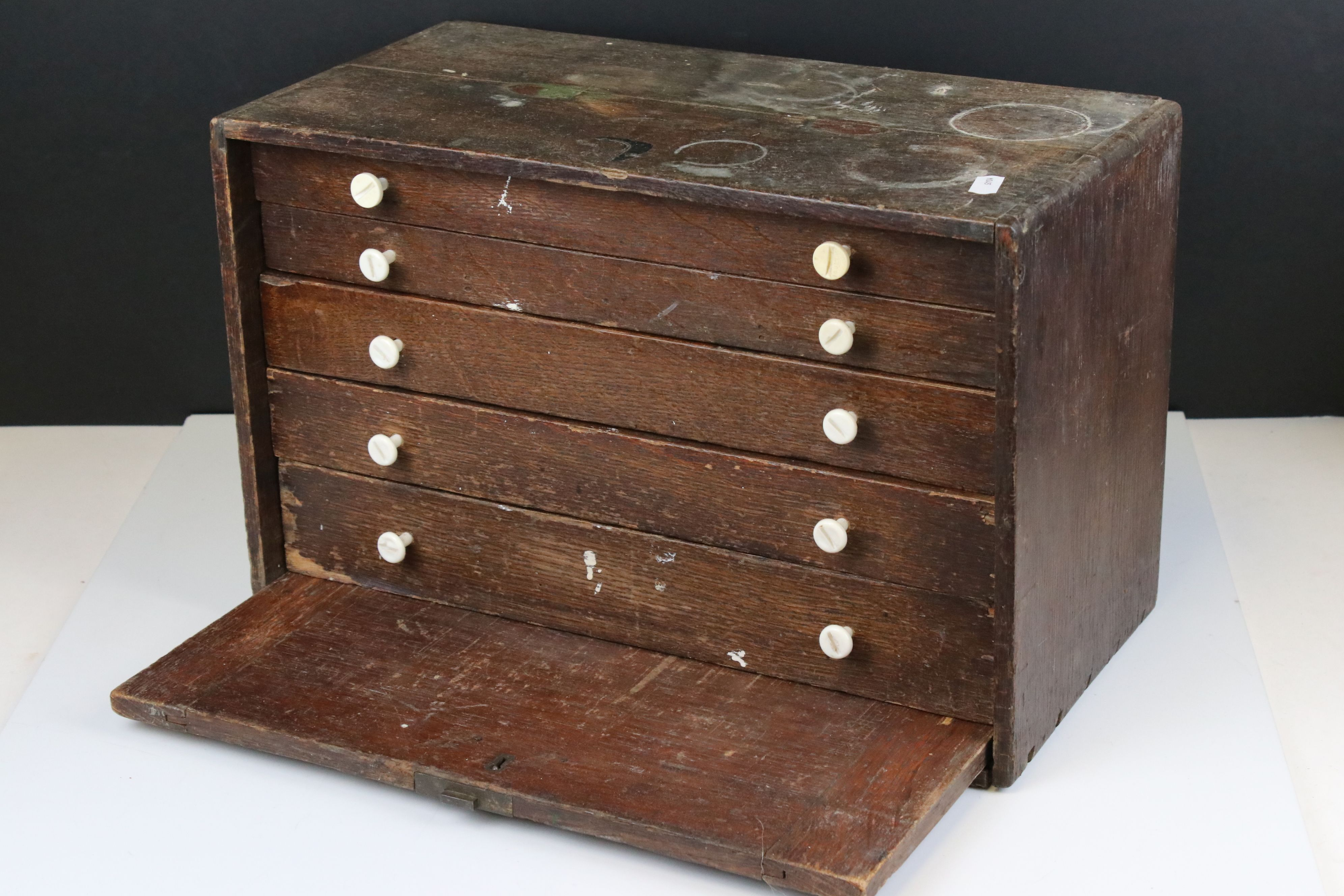 Early 20th century Oak Engineers Cabinet with Five Drawers, 41cms wide x 26cms high